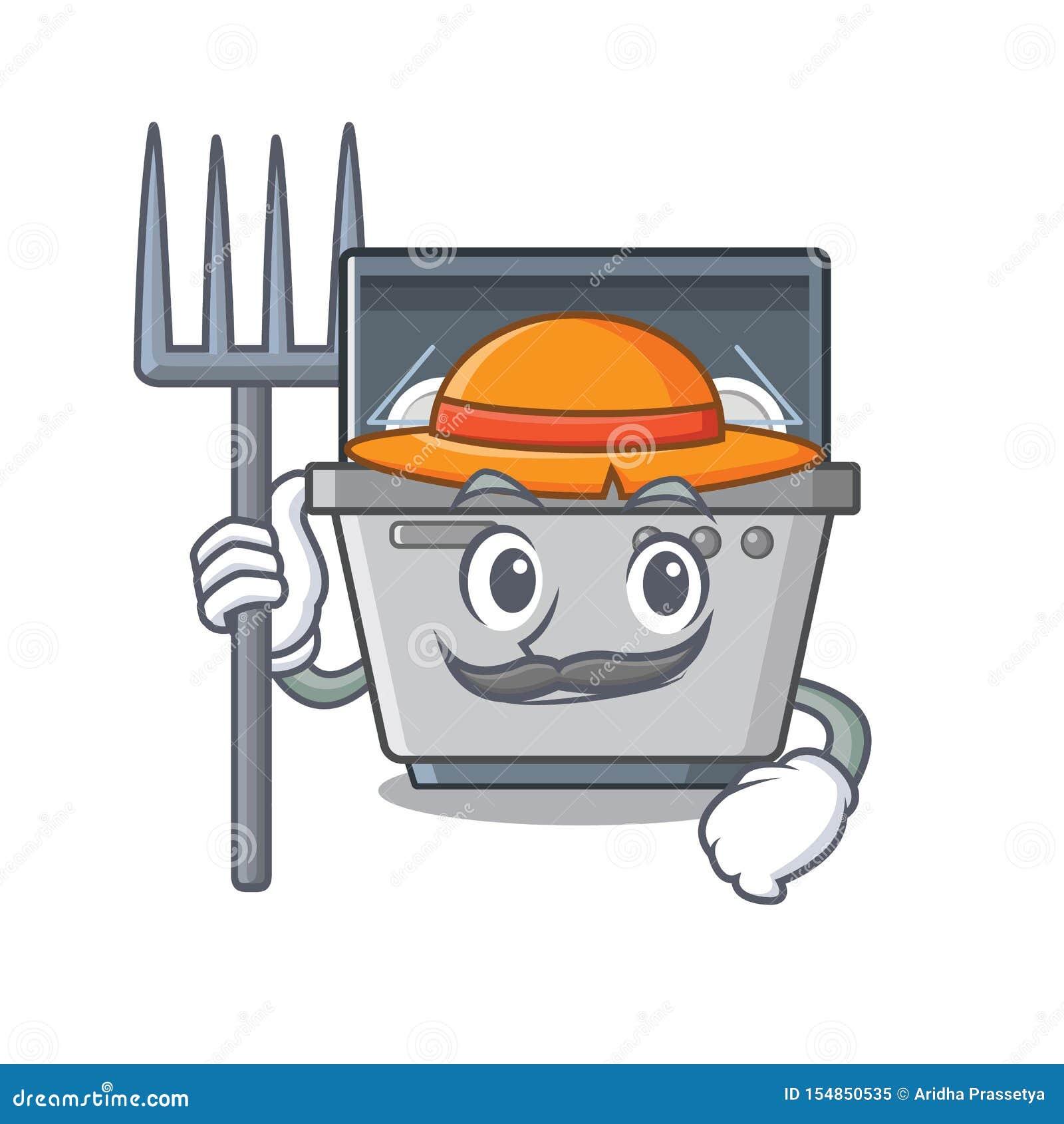 Μηχανή πλυντηρίων πιάτων μασκότ της Farmer στην κουζίνα