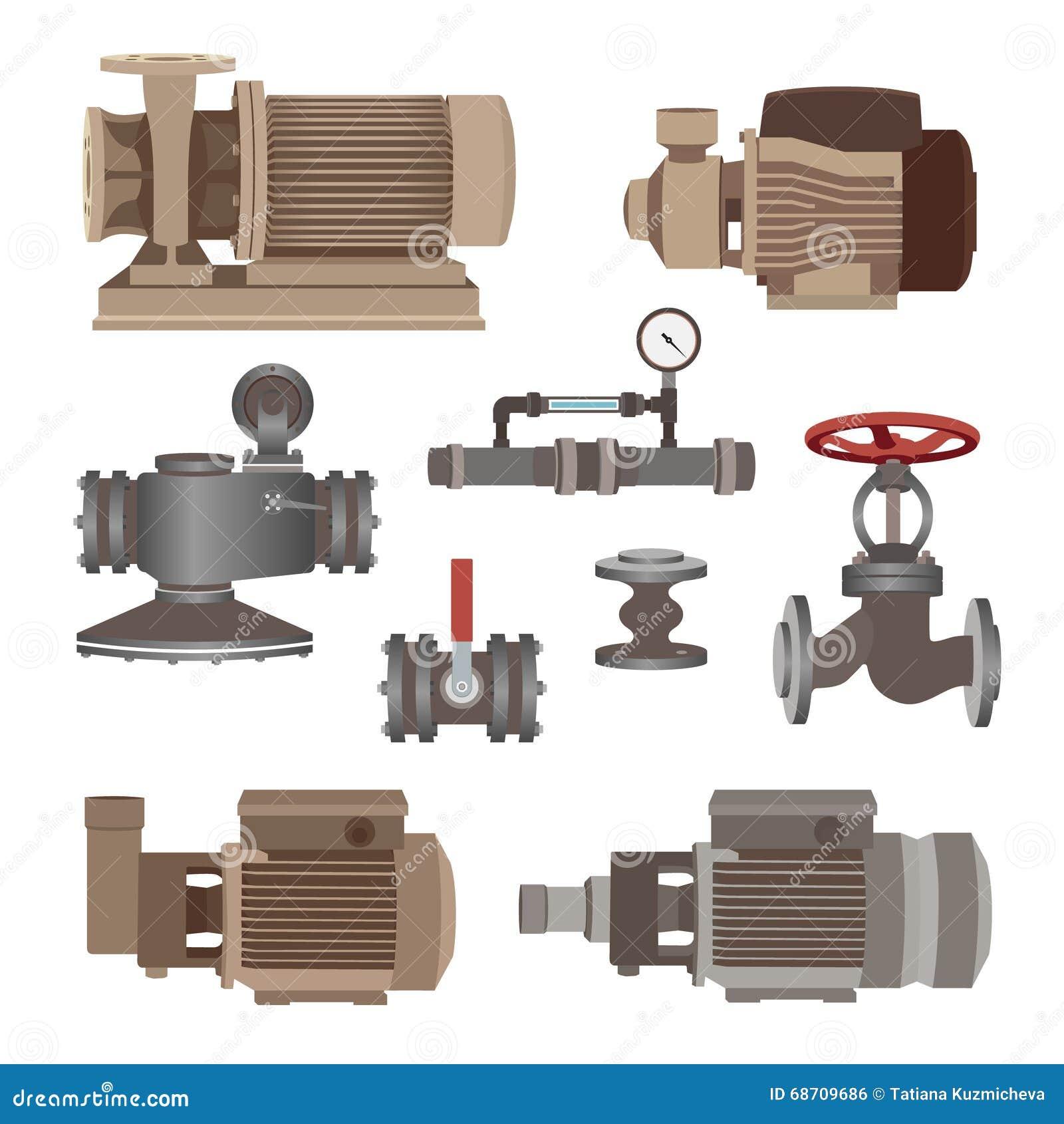 Μηχανή σύνολο-νερού, αντλία, βαλβίδες για τη σωλήνωση διάνυσμα