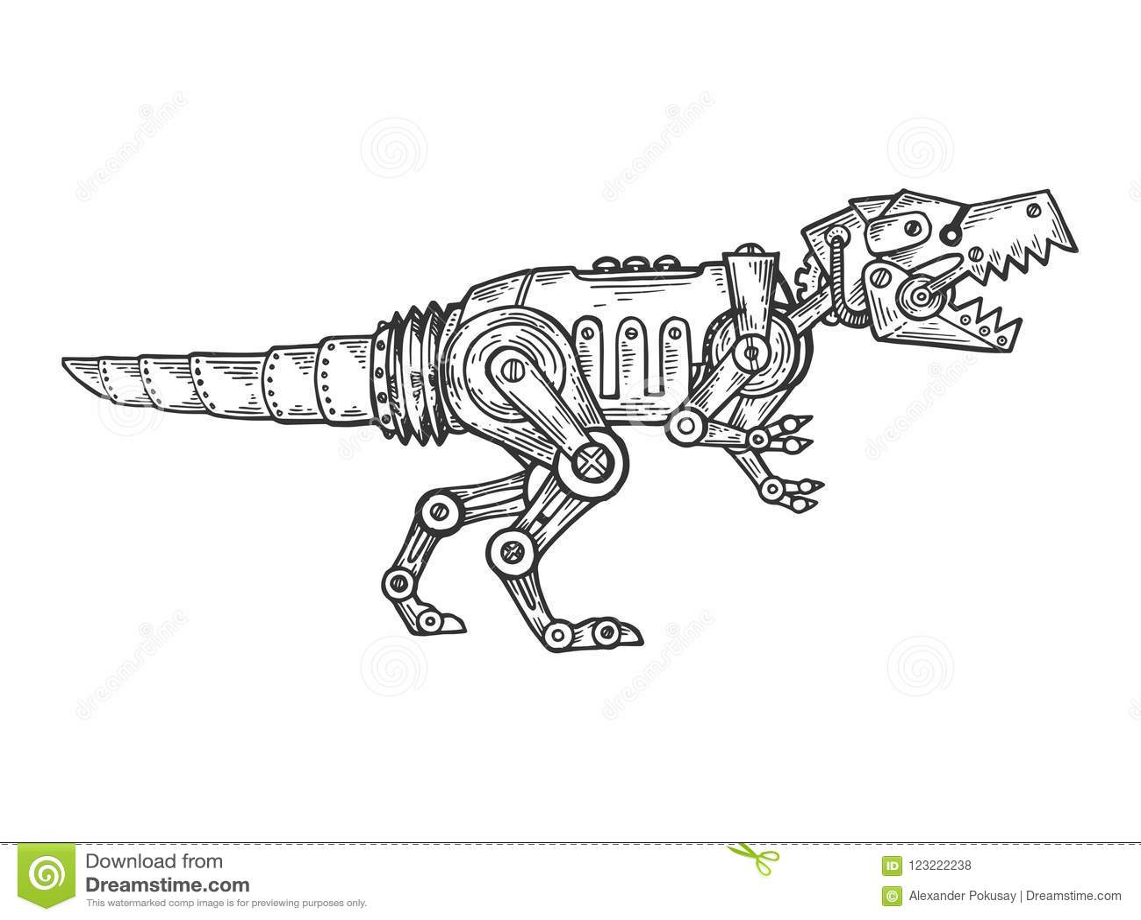Μηχανικό διάνυσμα χάραξης δεινοσαύρων ζωικό