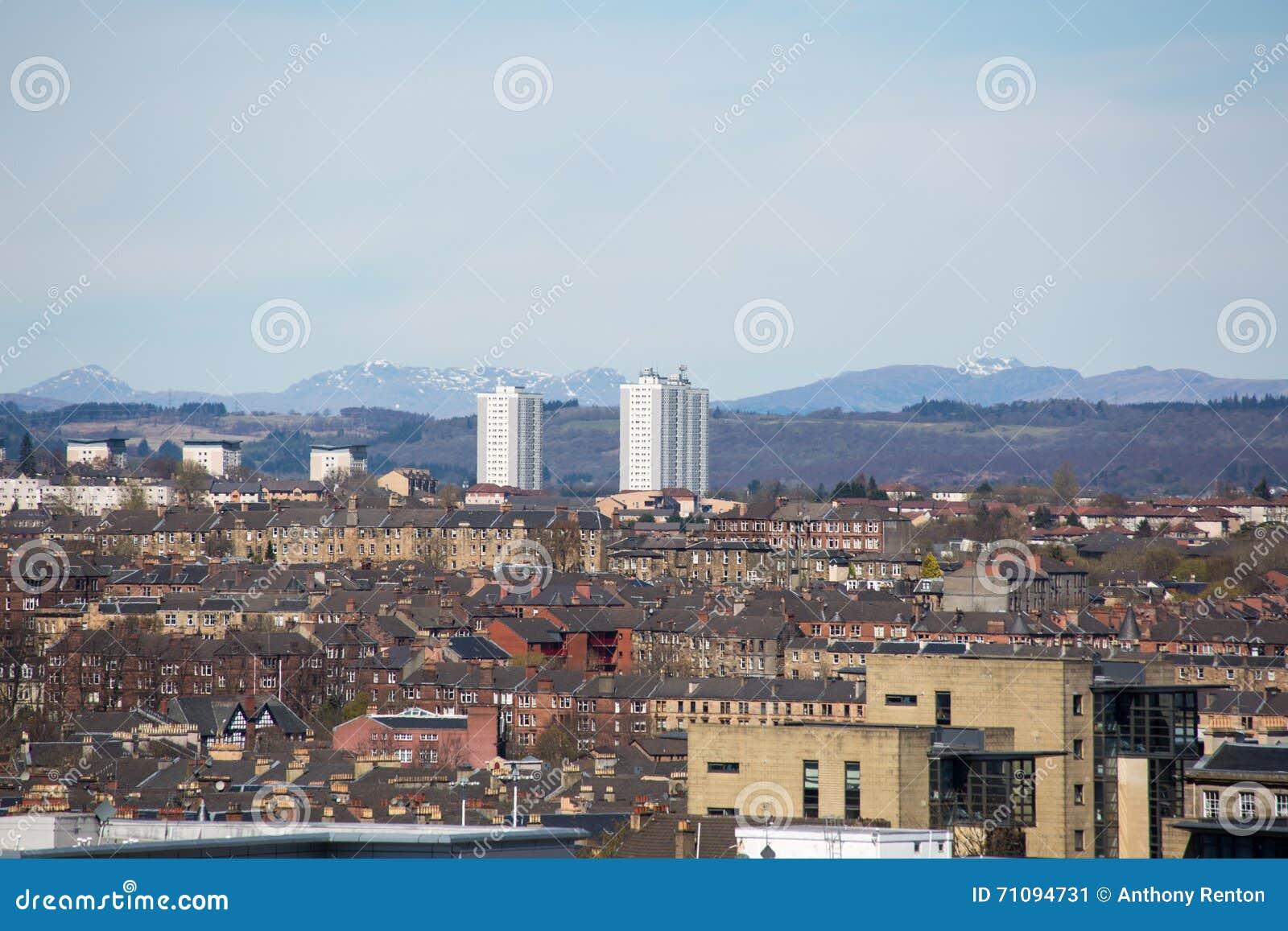 Μια άποψη στεγών πέρα από την κεντρική Γλασκώβη, Σκωτία, UK