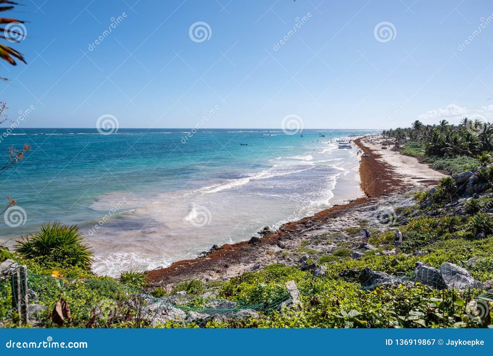 Μια άποψη της παραλίας σε Tulum, Μεξικό