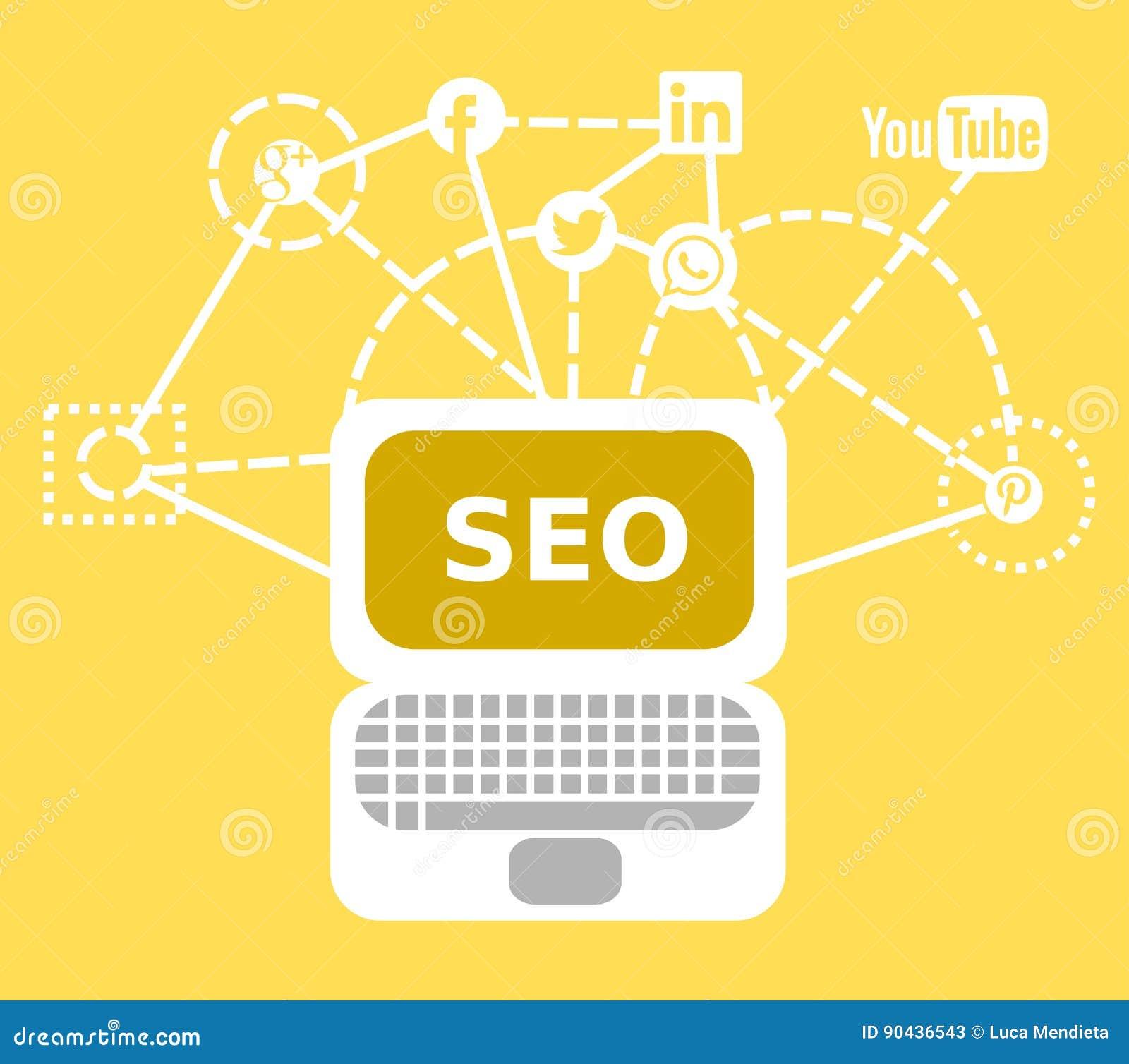 Μια απεικόνιση για τις εργασίες SEO με τα κοινωνικά δίκτυα, το lap-top και όλα τα είδη συνδετικότητας