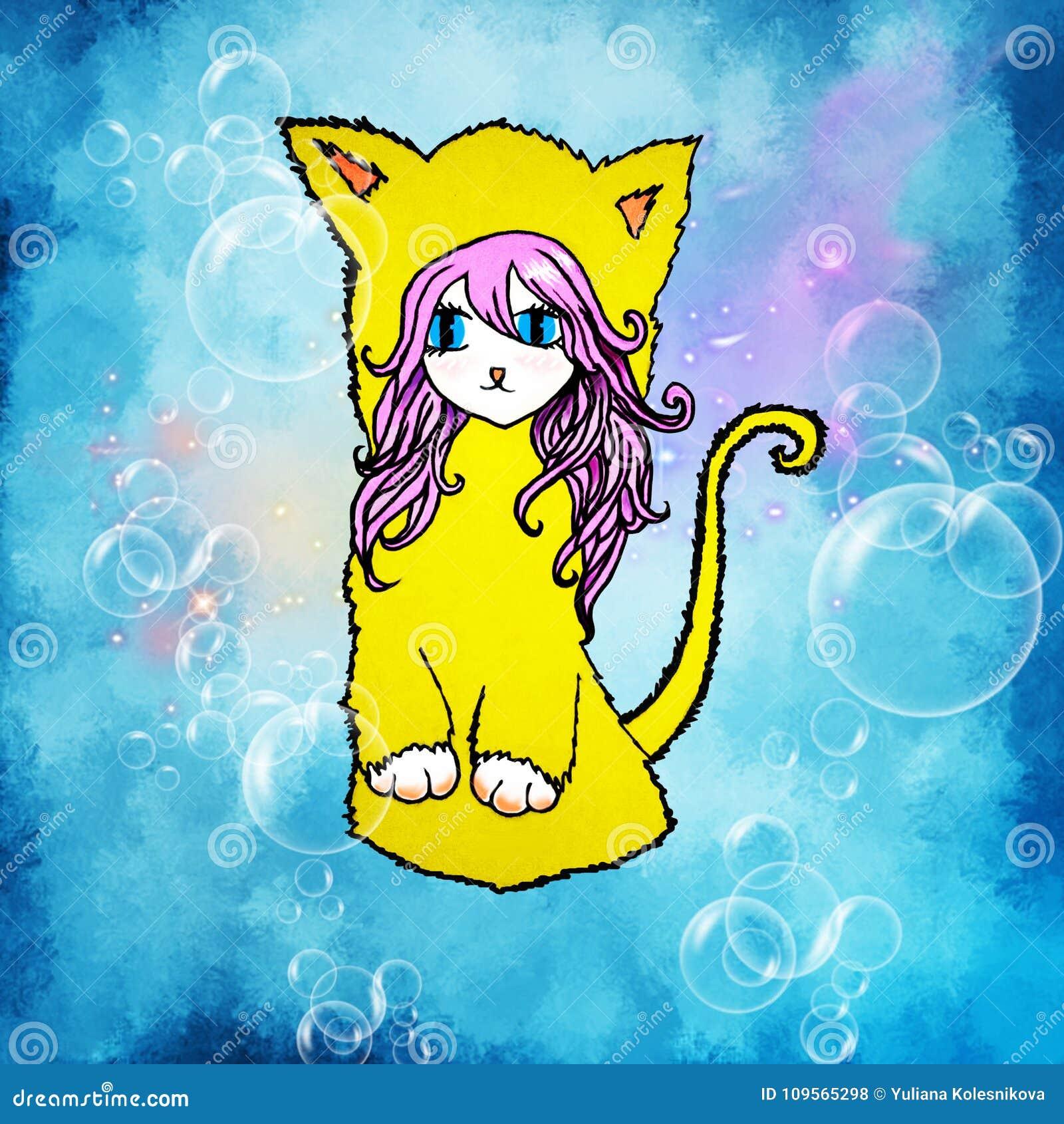 Μια απεικόνιση ενός κοριτσιού anime με τη ρόδινη τρίχα, μεγάλα μάτια, με τα αυτιά γατών ` s και μια ουρά σε ένα μπλε υπόβαθρο με