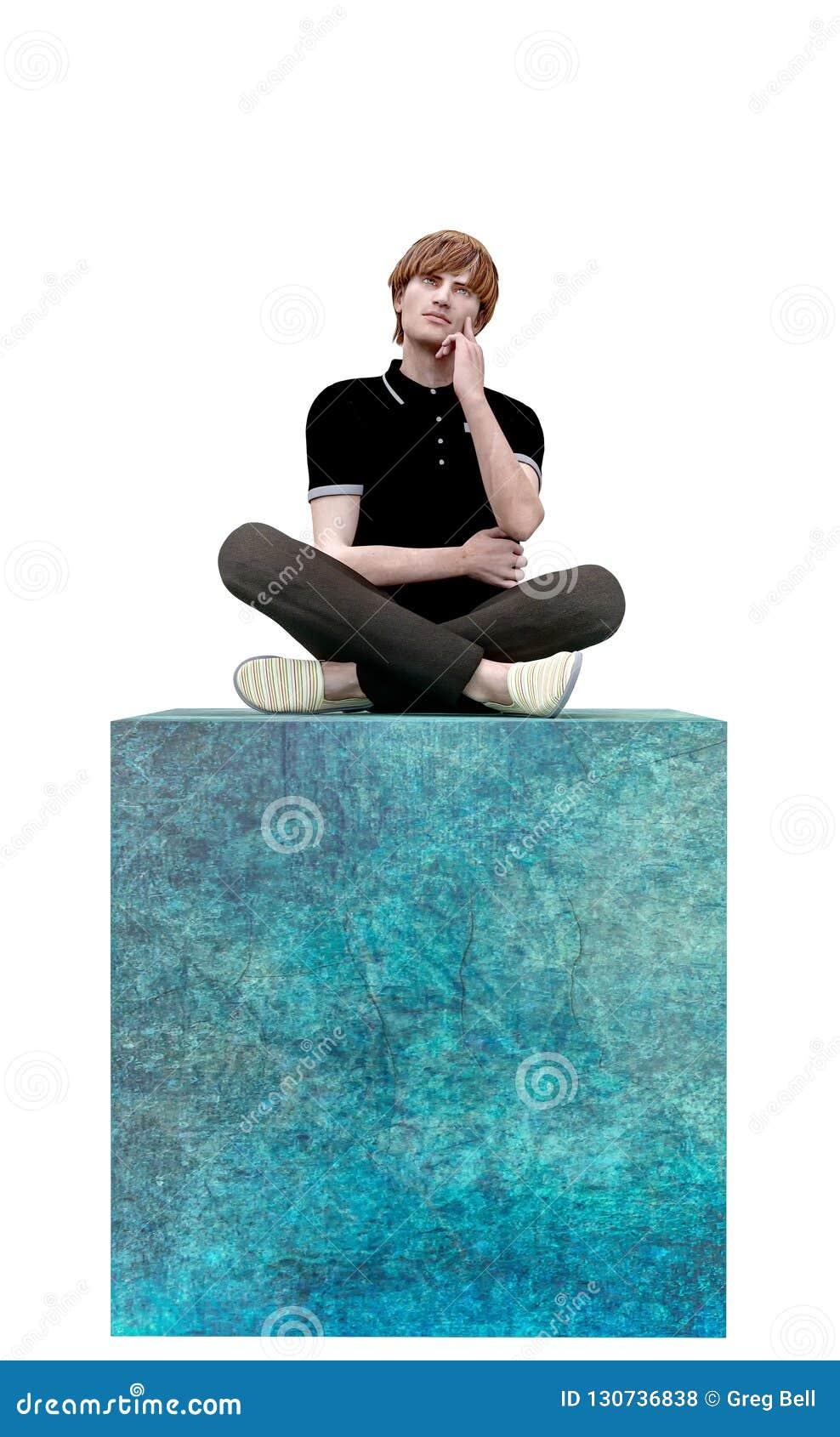 Μια απεικόνιση σκέφτεται έξω από το κιβώτιο ή την τετραγωνική έννοια