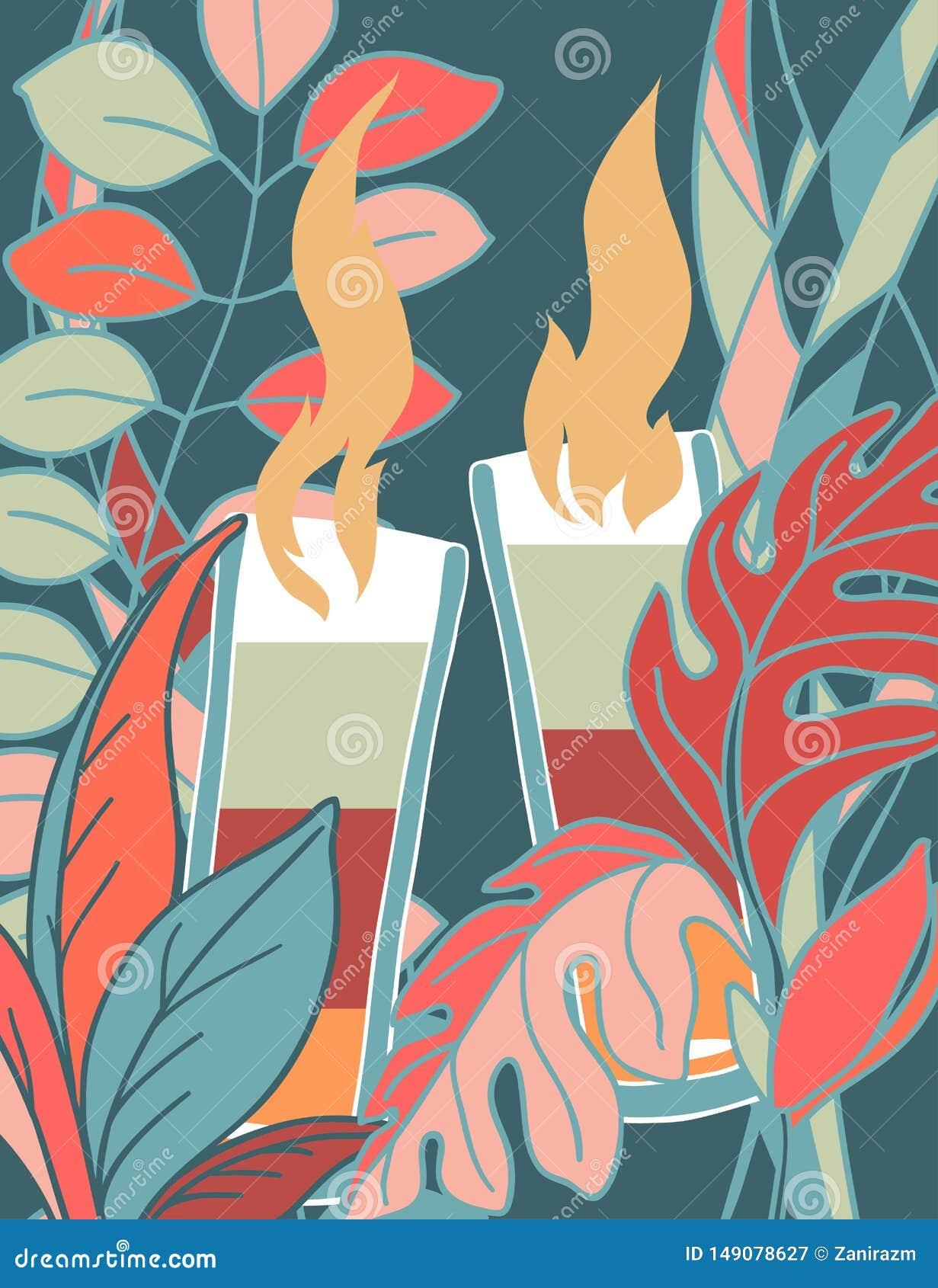 Μια αφίσα με μια εικόνα του κοκτέιλ και το χρώμα των εγκαταστάσεων γύρω