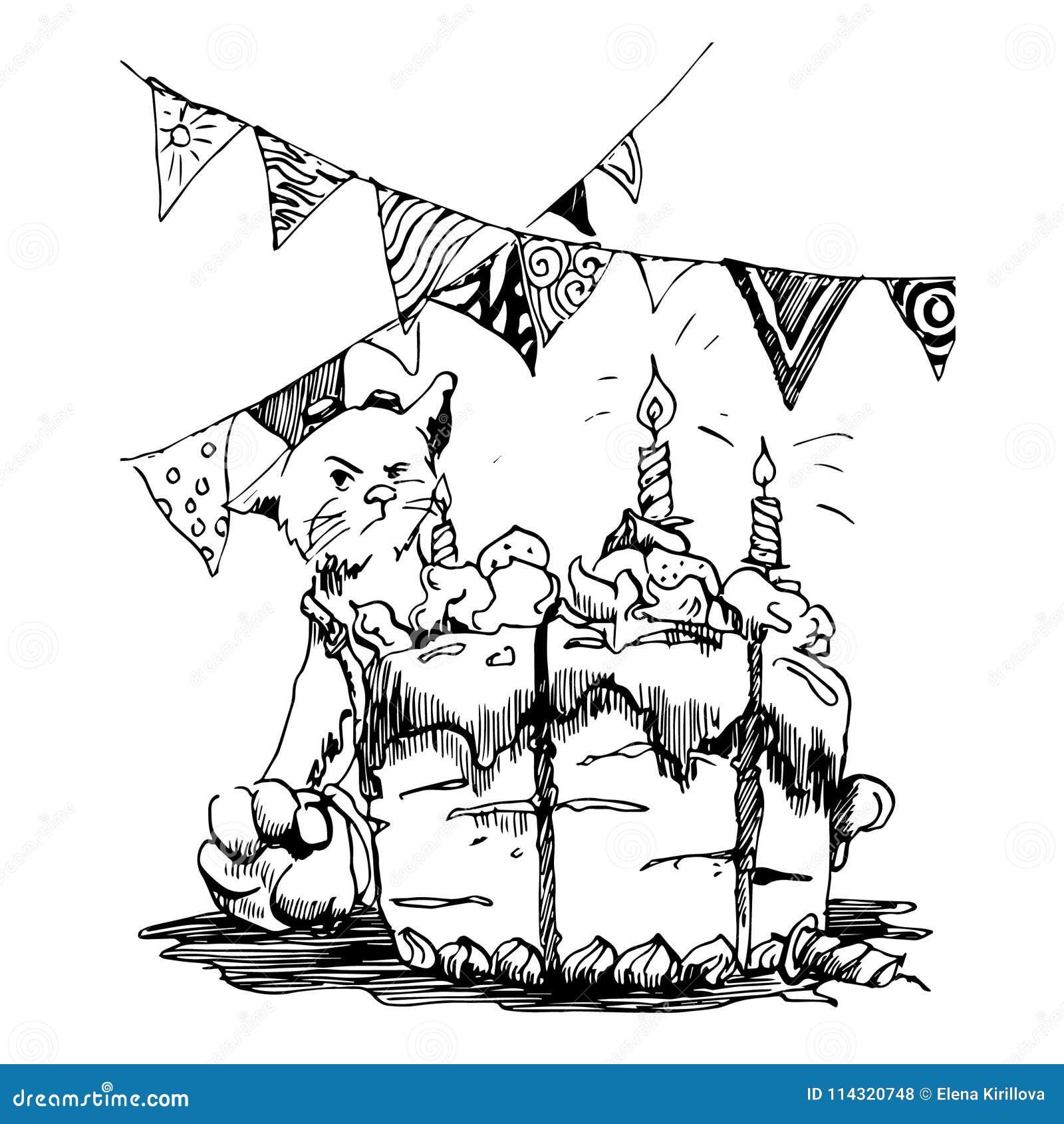 Μια γάτα γιορτάζει γενέθλια Η γάτα δεν θέλει να μοιραστεί το κέικ απεικόνιση