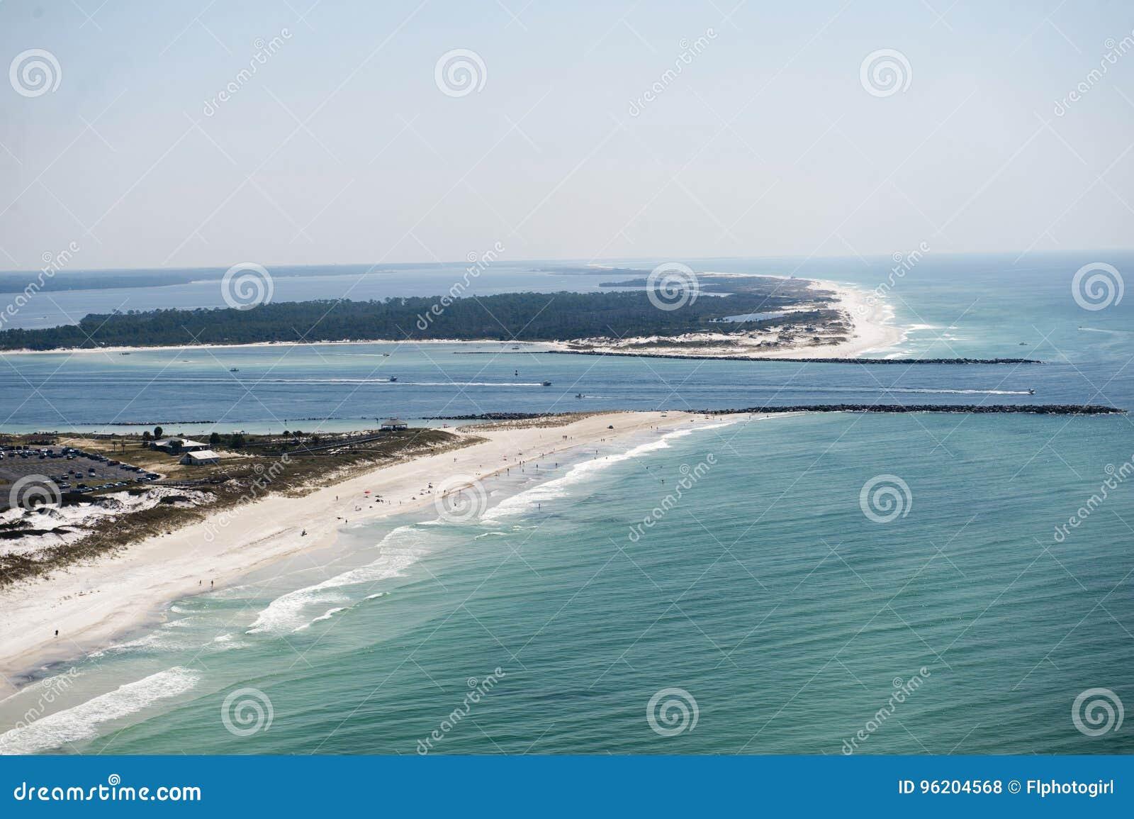 Μια εναέρια άποψη της ακτής της παραλίας Φλώριδα πόλεων του Παναμά στον κόλπο του ST Andrews