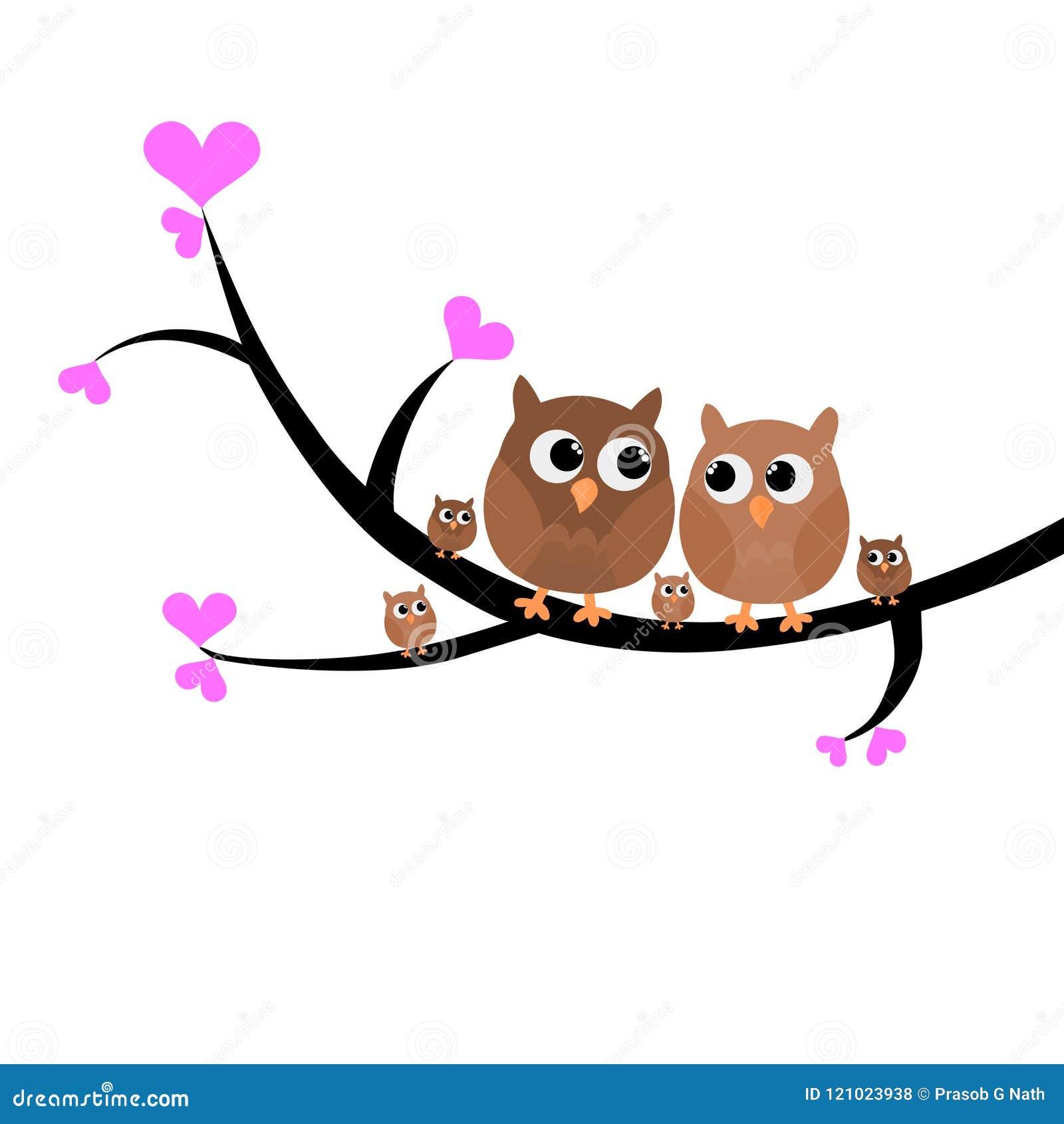 Μια ζωηρόχρωμη καλή οικογενειακή συνεδρίαση κουκουβαγιών σε μια διανυσματική απεικόνιση δέντρων