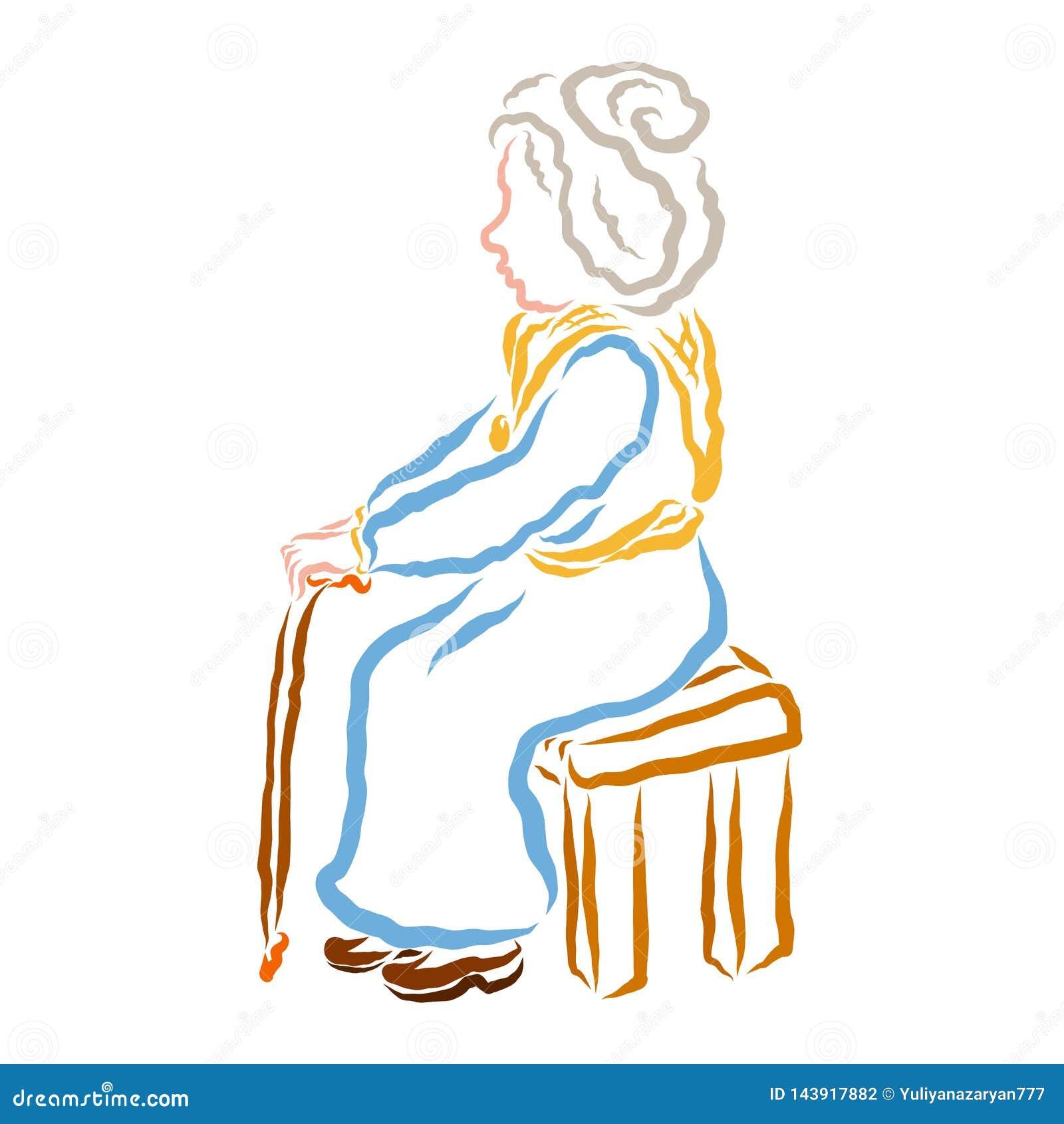 Μια ηλικιωμένη γυναίκα με μια συνεδρίαση ραβδιών δεκανικιών ή περπατήματος σε έναν πάγκο ή μια καρέκλα