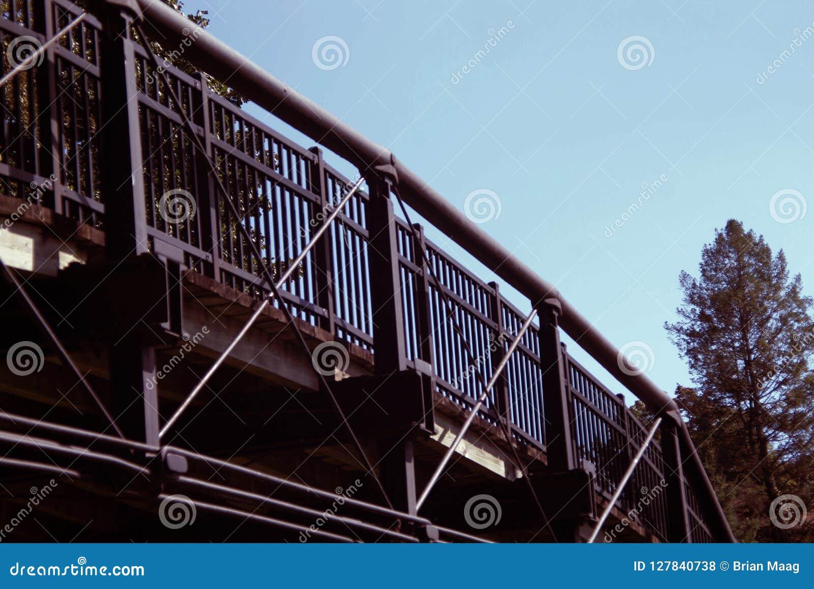 Μια κυρτή γέφυρα σιδήρου πέρα από ένα πάρκο