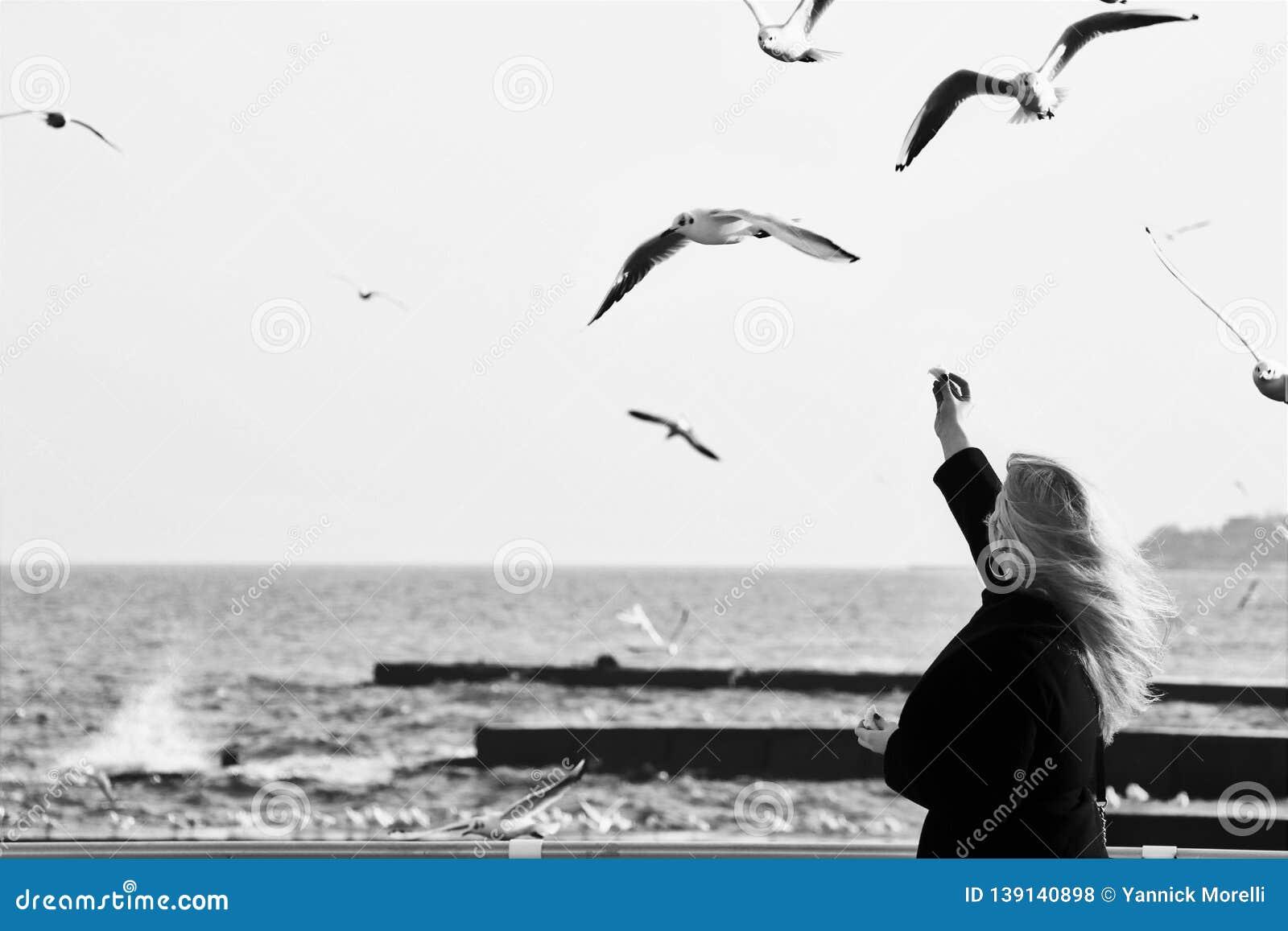 Μια νέα γυναίκα δοκιμάζει στις τροφές κάποιο seagull