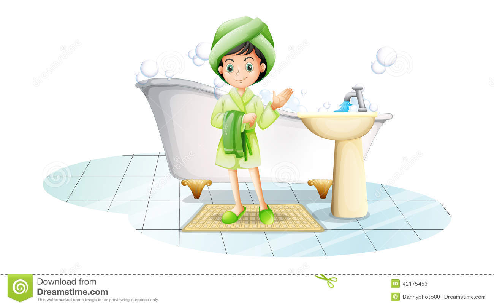Μια νέα κυρία που παίρνει ένα λουτρό με μια πράσινη πετσέτα