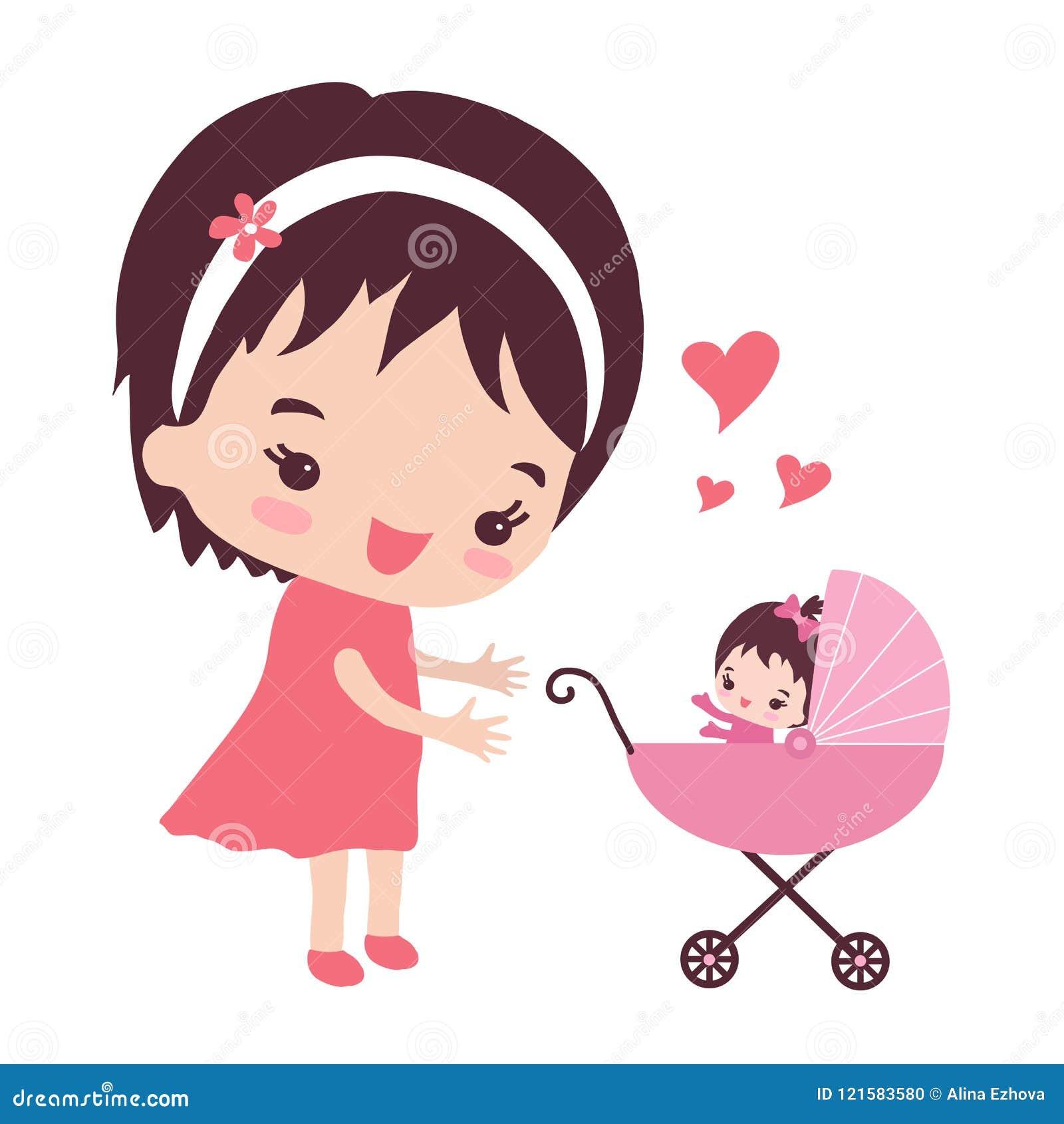 Μια νέα μητέρα με έναν περιπατητή