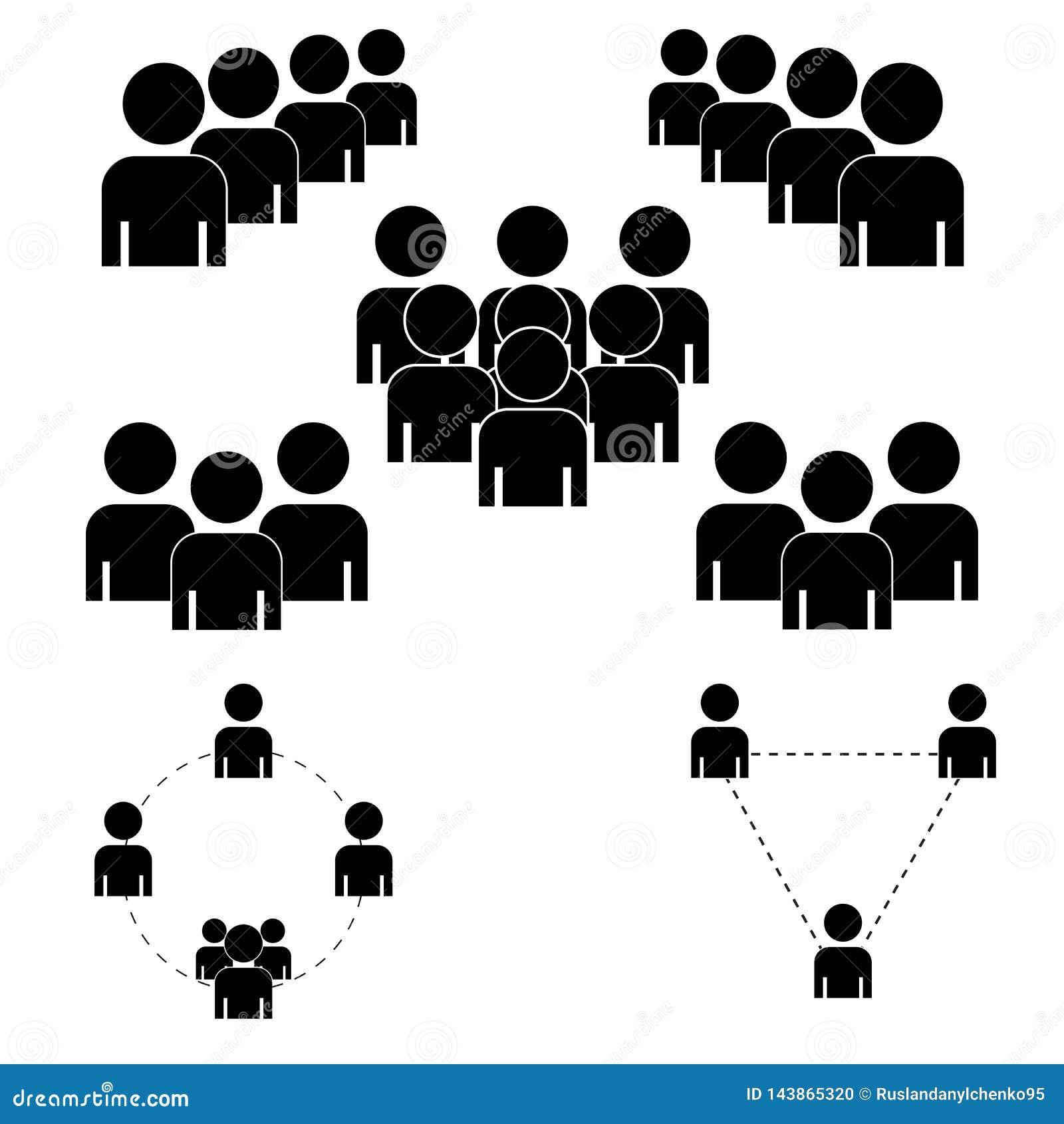 Μια ομάδα ανθρώπων ή ομάδες χρηστών Διανυσματικό επίπεδο εικονίδιο φίλων για τις εφαρμογές και τους ιστοχώρους Μαύρα εικονίδια σε