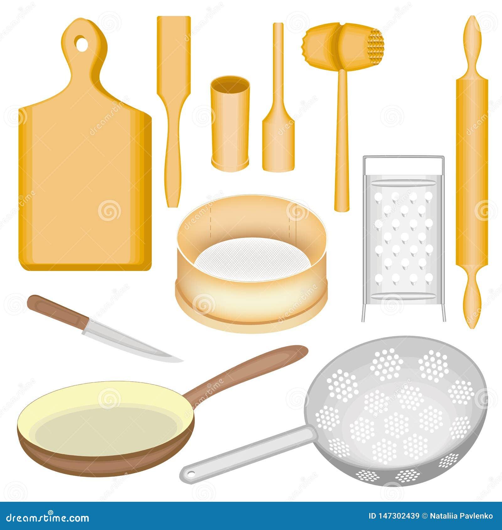 Μια συλλογή των εργαλείων κουζινών Ένα ξύλινα κονίαμα και ένα γουδοχέρι, ένας πίνακας, ένα σφυρί για το κρέας, μια σέσουλα, μια κ