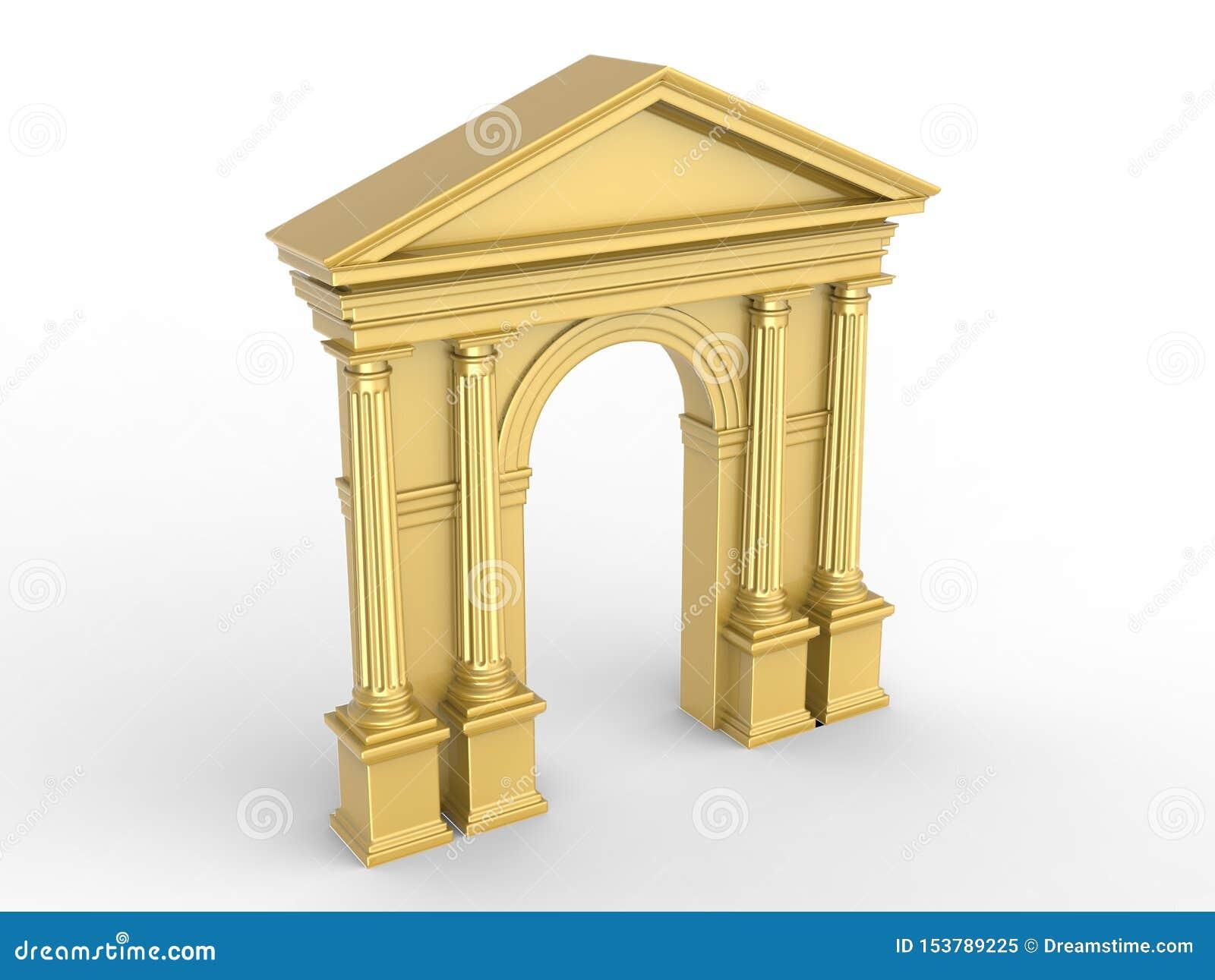 Μια χρυσή κλασική αψίδα, arcade με τις κορινθιακές στήλες, δωρικά pilasters που απομονώνονται στο λευκό