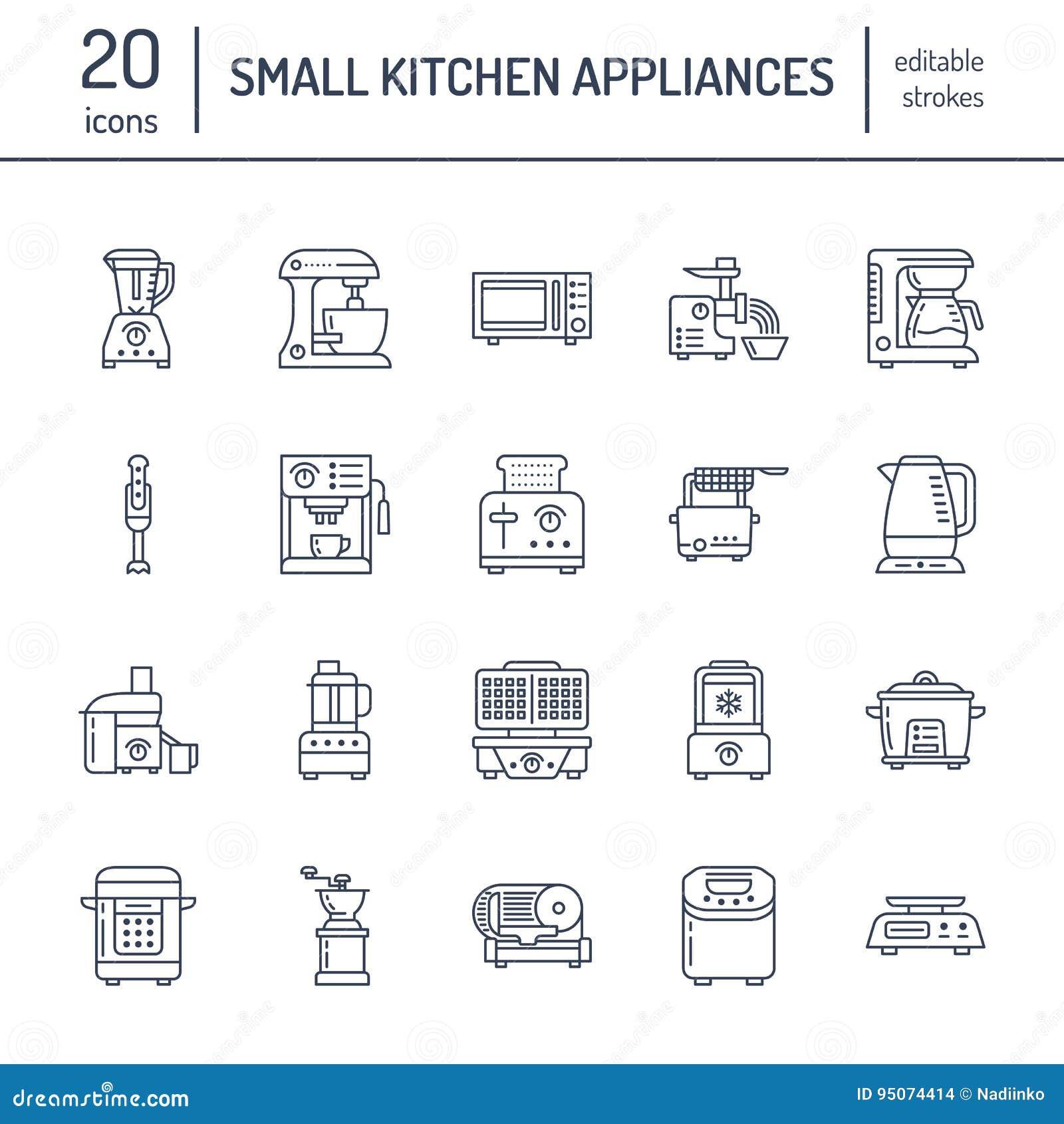 Μικρά εικονίδια γραμμών συσκευών κουζινών Σημάδια οικιακών μαγειρεύοντας εργαλείων Εξοπλισμός προετοιμασιών τροφίμων - μπλέντερ,