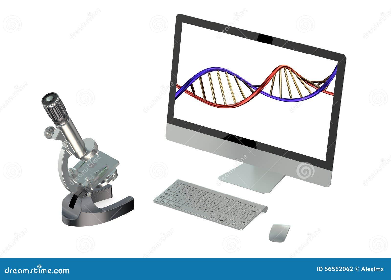 Download Μικροσκόπιο και υπολογιστής που απομονώνονται στο άσπρο υπόβαθρο Απεικόνιση αποθεμάτων - εικονογραφία από γονίδιο, πληκτρολόγιο: 56552062