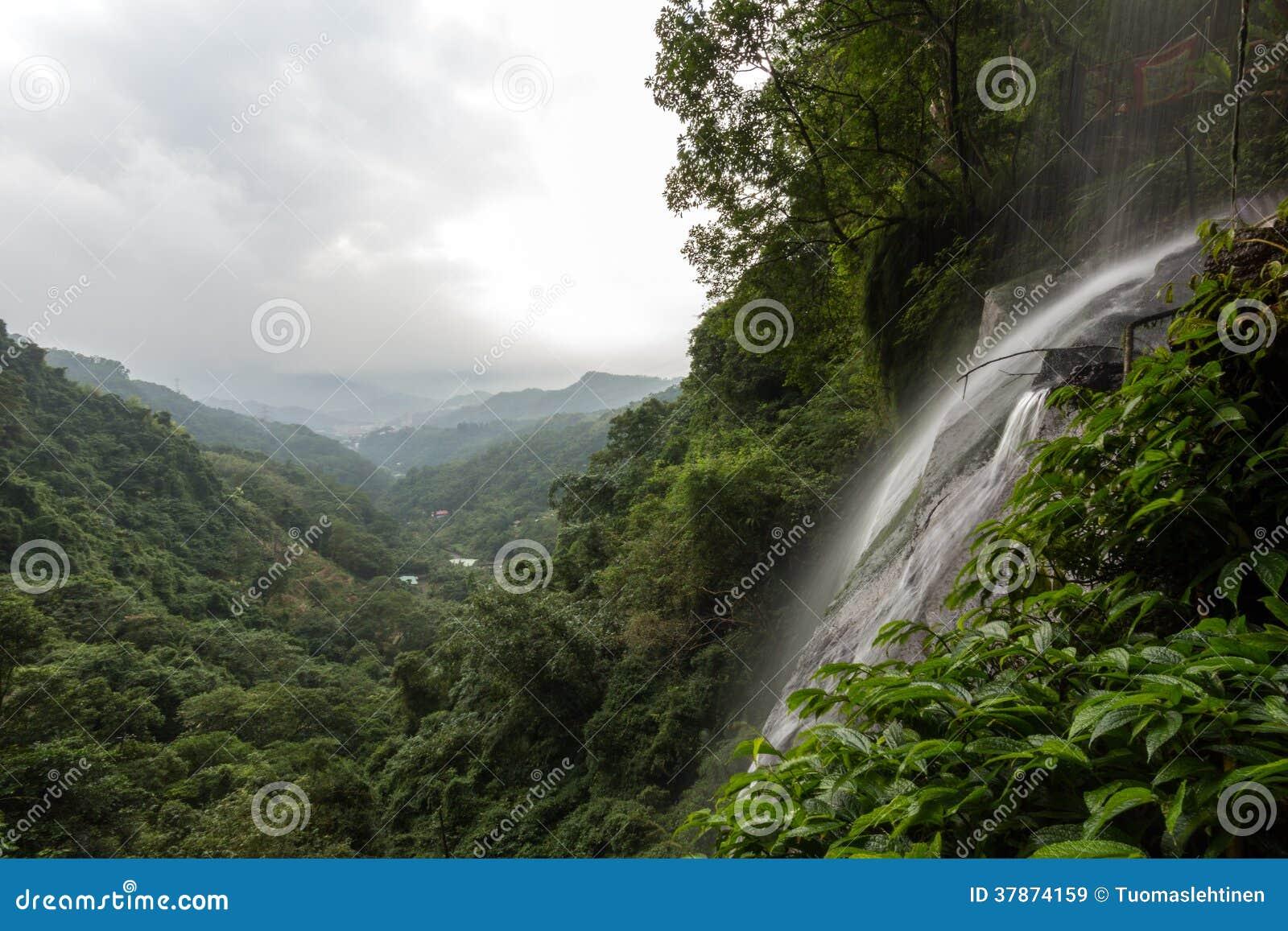 Μικρός καταρράκτης και άποψη πέρα από το πολύβλαστο δάσος στη Ταϊπέι
