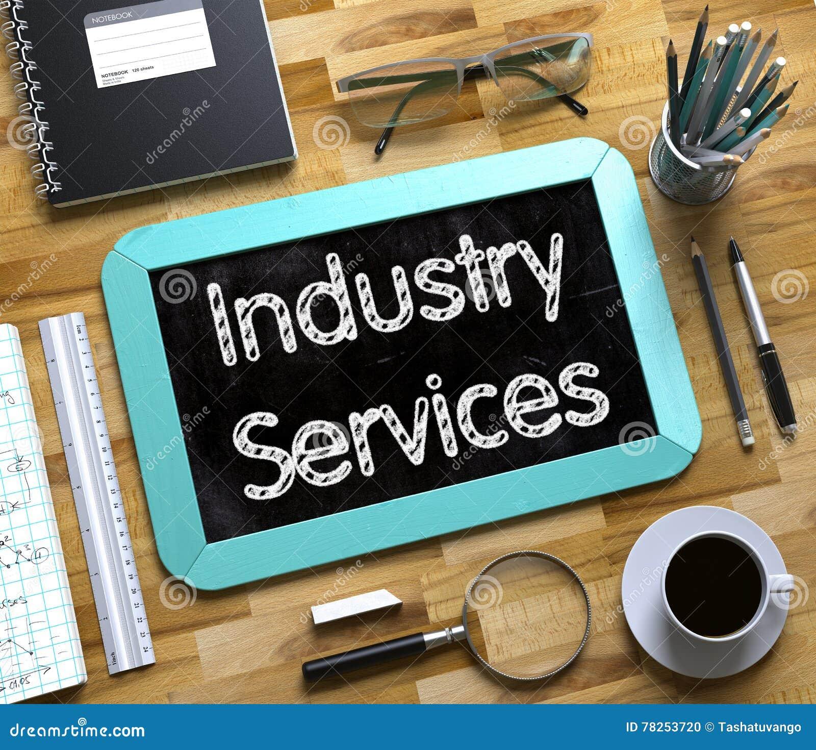 Μικρός πίνακας κιμωλίας με τις υπηρεσίες βιομηχανίας τρισδιάστατος
