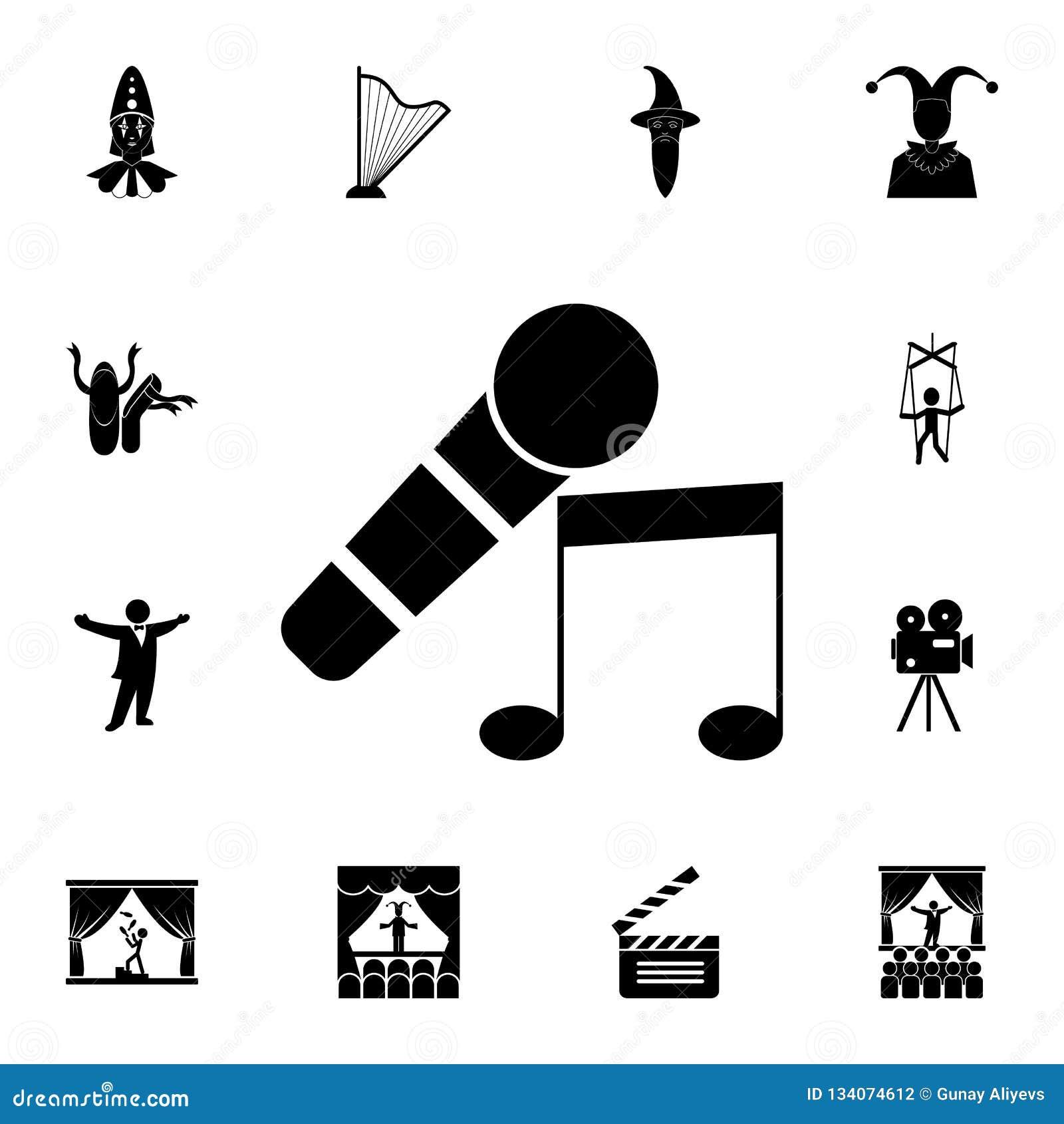 μικρόφωνο και μουσικό εικονίδιο σημειώσεων Λεπτομερές σύνολο εικονιδίων θεάτρων Γραφικό σχέδιο ασφαλίστρου Ένα από τα εικονίδια σ