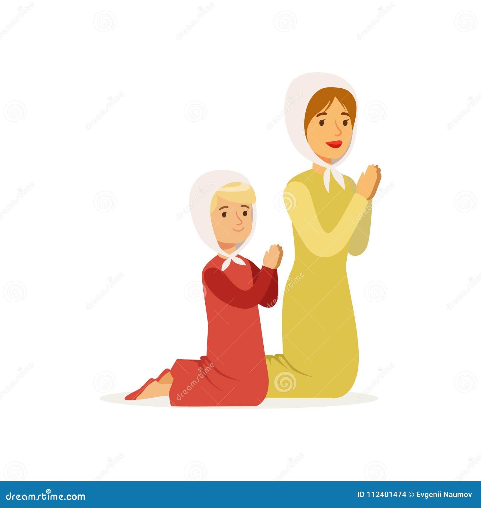 6c45df18ca57 Μικρό κορίτσι με τη μητέρα που γονατίζει και που προσεύχεται στο Θεό  Γυναίκα και η κόρη της στα μακριά φορέματα και headscarves Θρησκευτική  οικογένεια ...