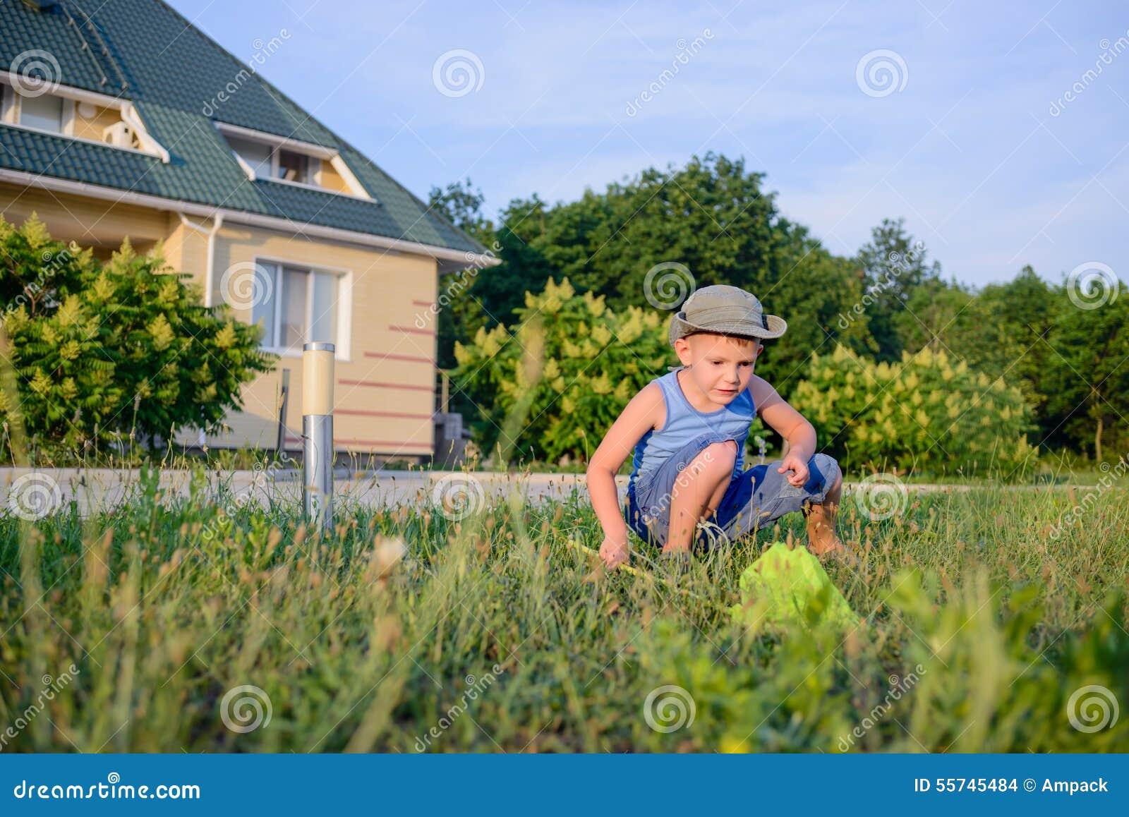Μικρό παιδί που πιάνει τα έντομα με ένα δίχτυ