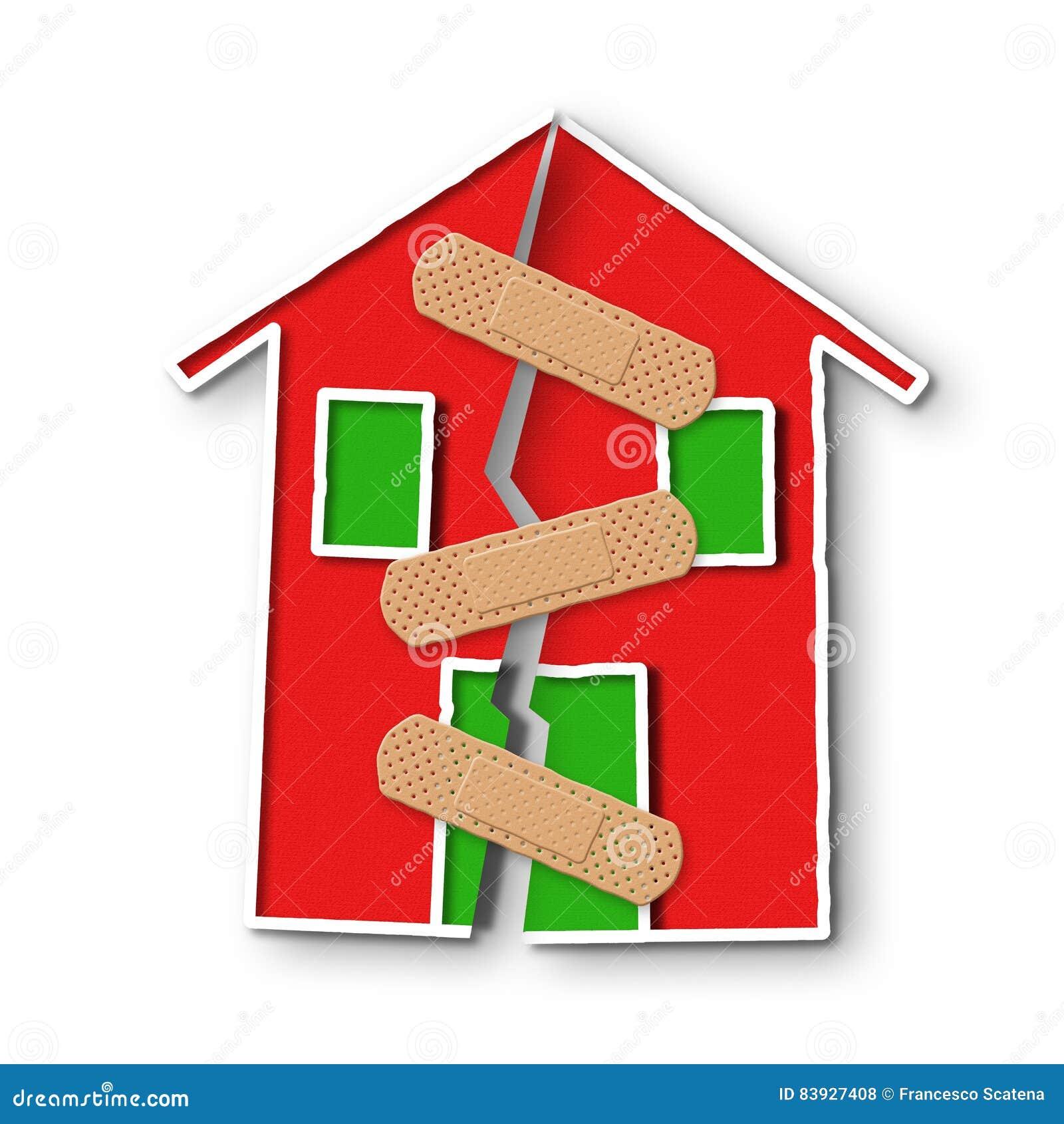 Μικρό σπίτι με μια βαθιά ρωγμή στον τοίχο - έννοια του restructu