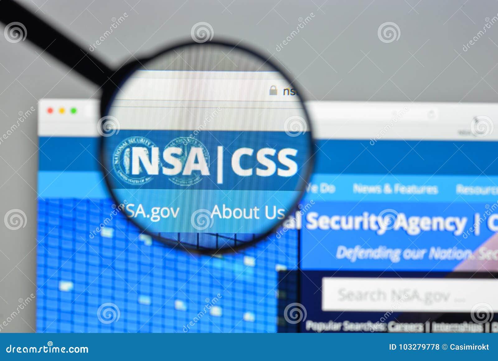 Μιλάνο, Ιταλία - 10 Αυγούστου 2017: Αρχική σελίδα ιστοχώρου NSA Αυτό nationa