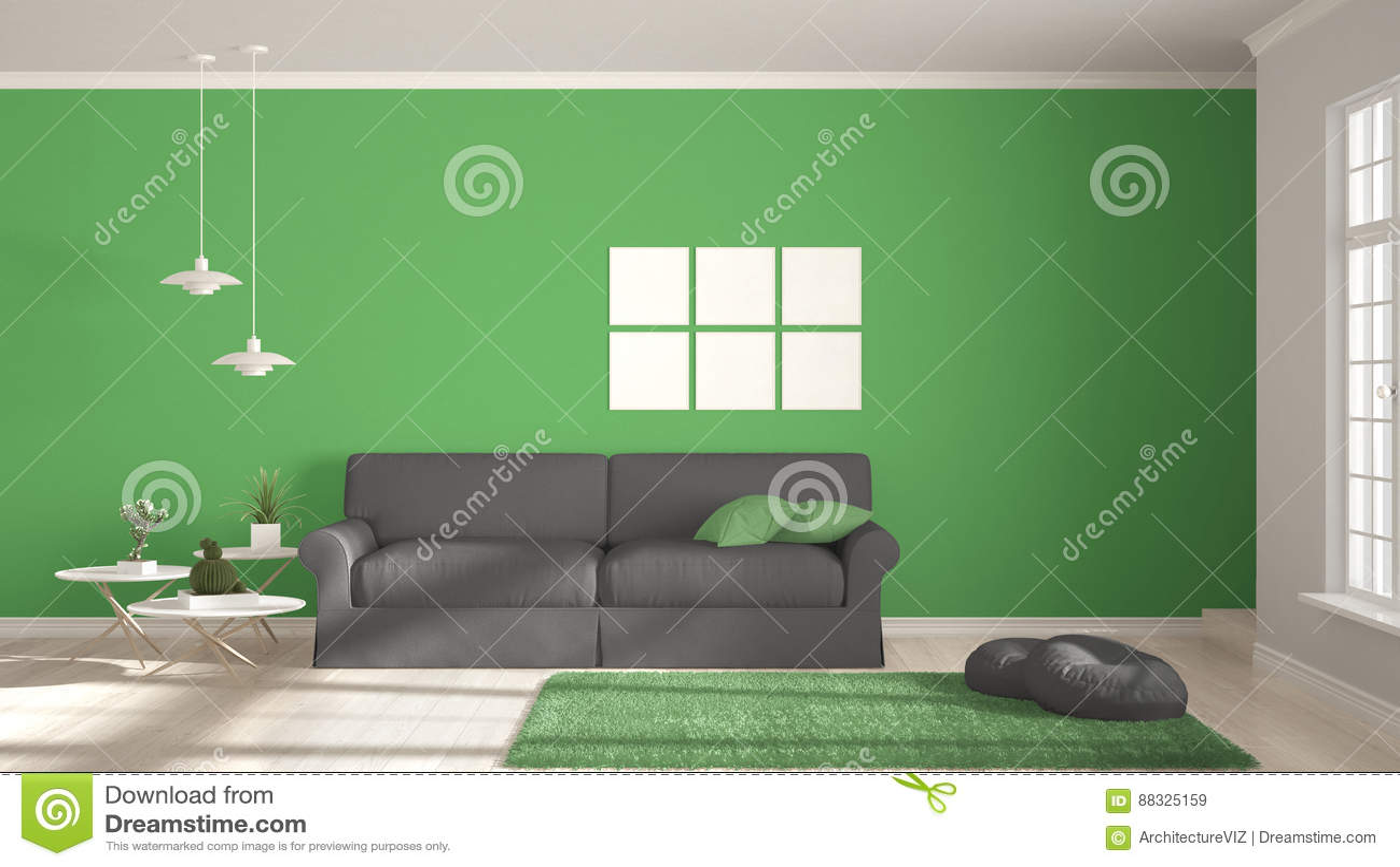 Μινιμαλιστικό δωμάτιο, απλή άσπρη, γκρίζα και πράσινη διαβίωση με τα μεγάλα WI