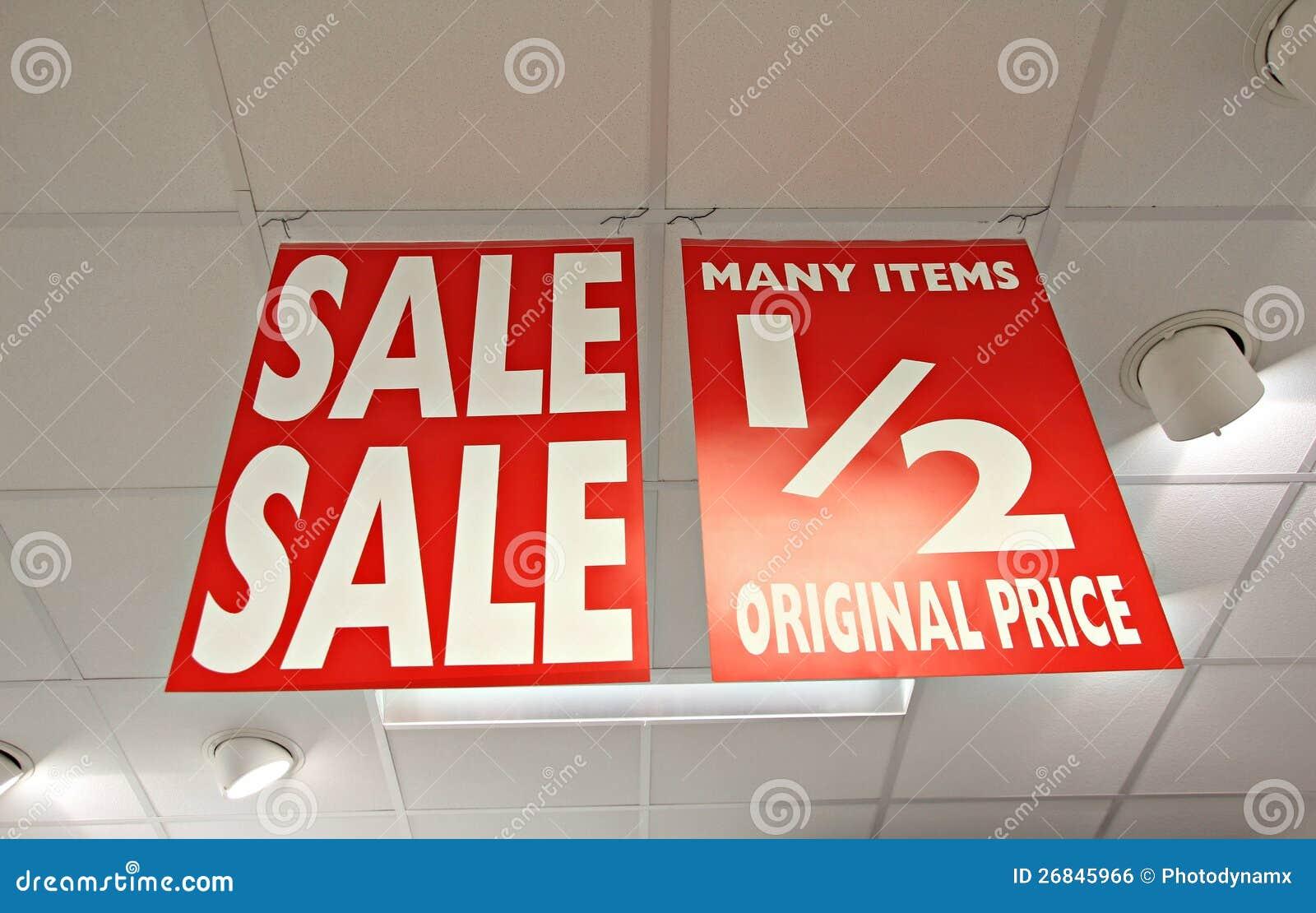 Μισά σημάδια καταστημάτων τιμών πώλησης