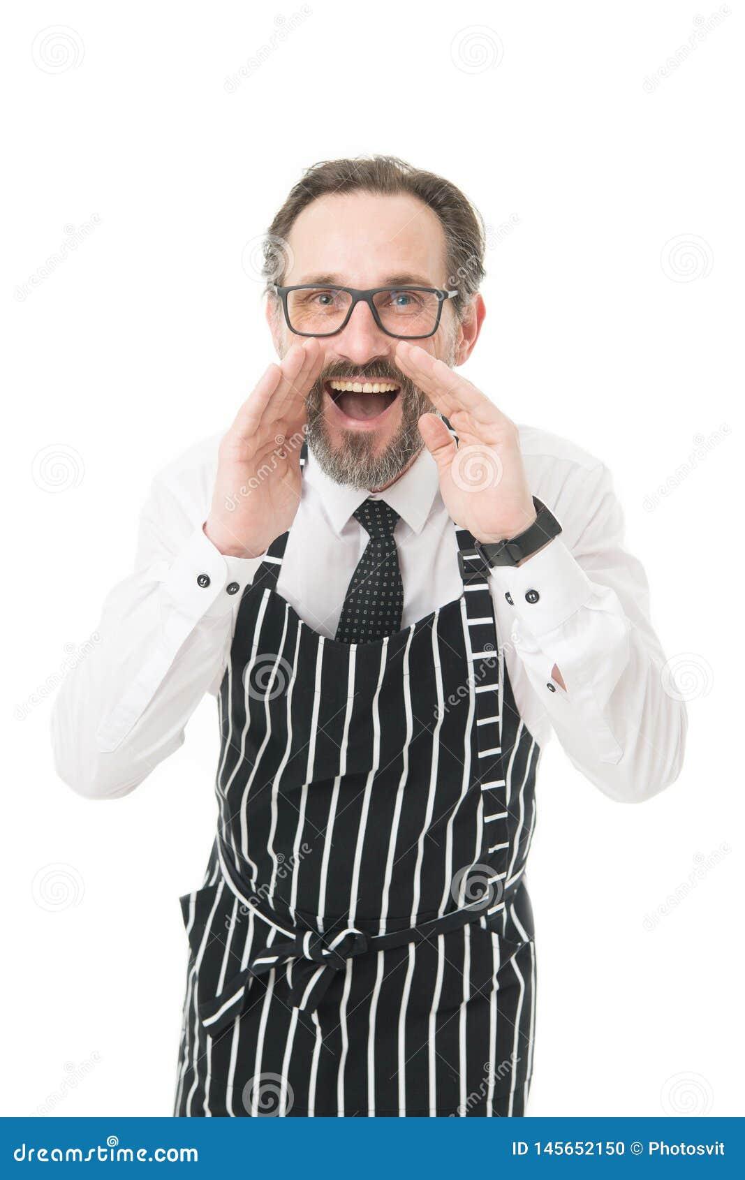 Μισθώνοντας προσωπικό Γενειοφόρο barista ατόμων που φωνάζει σε σας Barista στην πληροφόρηση ποδιών Έννοια καφετεριών Ώριμοι συνάδ