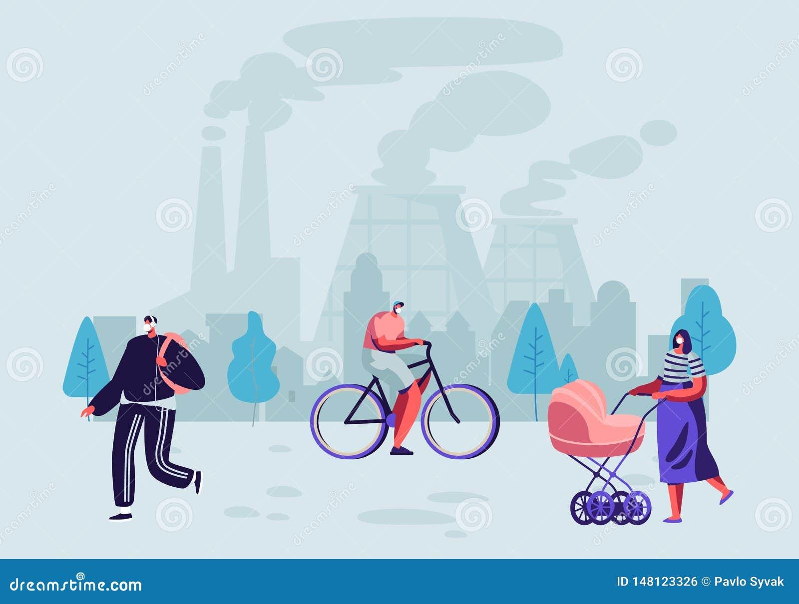Μολυσματική εκπομπή καυσαερίων Οι άνθρωποι στις προστατευτικές μάσκες προσώπου ζουν στη μολυσμένη πόλη που περπατά στην οδό ενάντ