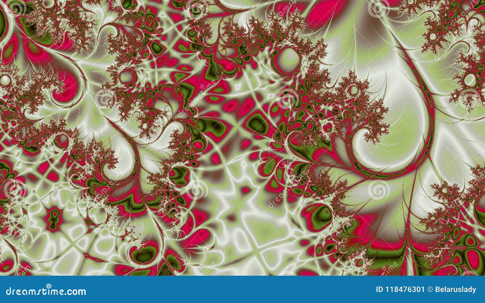 Μοναδική fractal στροβίλων αμπέλων σύσταση πράσινος και φούξια
