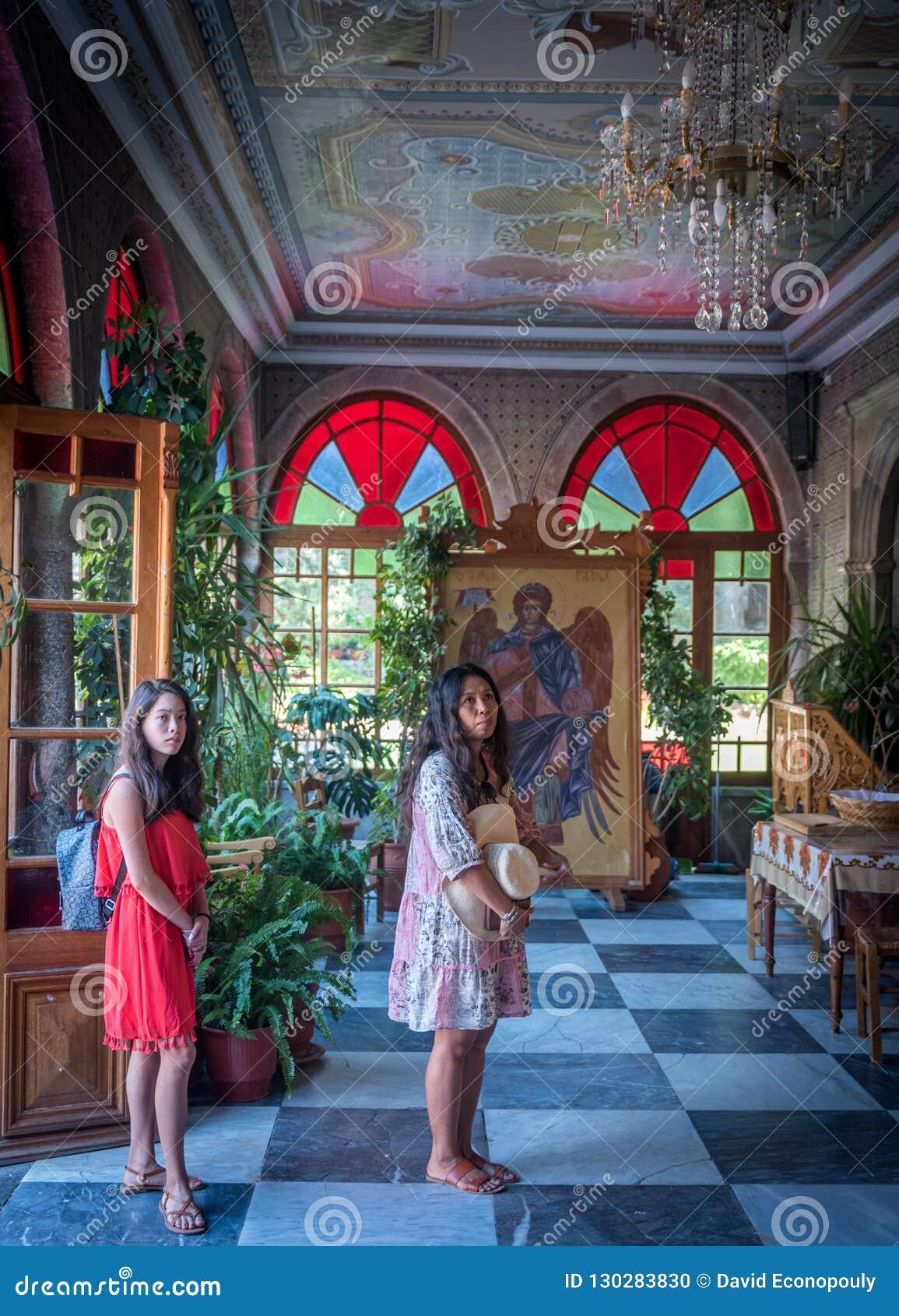 Μοναστήρι Taxiachis, Mantamados, Λέσβος, Ελλάδα 25 Ιουνίου 2018: