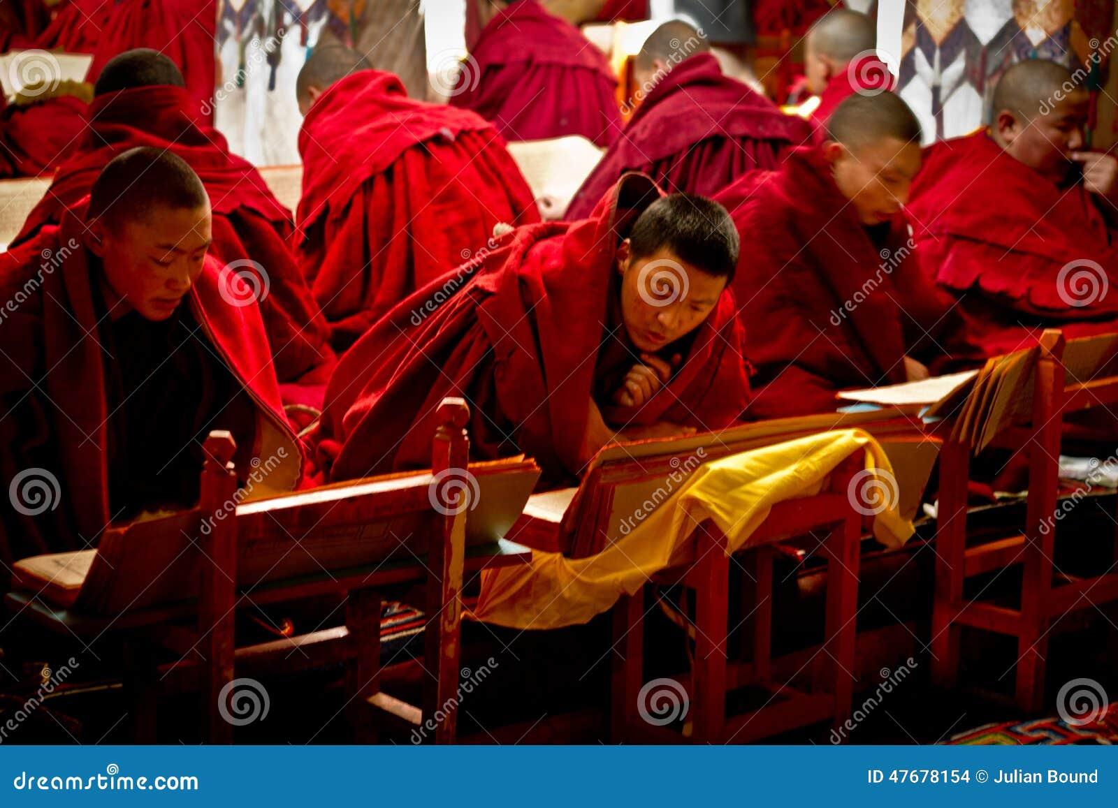 Μοναχοί ανάγνωσης του μοναστηριού Lhasa Θιβέτ Drepung