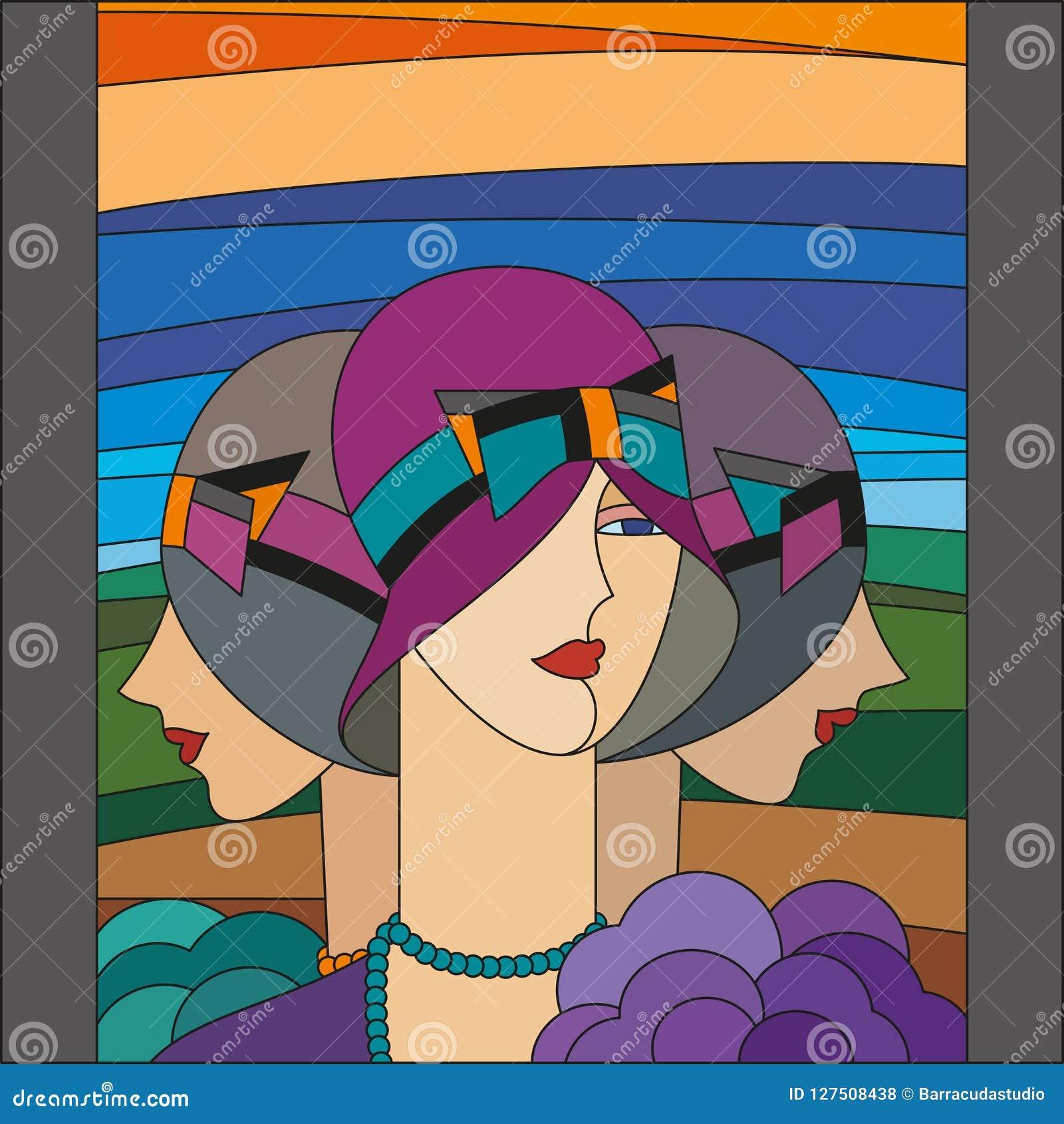 Μοντέρνο σχέδιο γυναικών Τρία πτερύγια Λεκιασμένο σχέδιο γυαλιού τέχνης deco