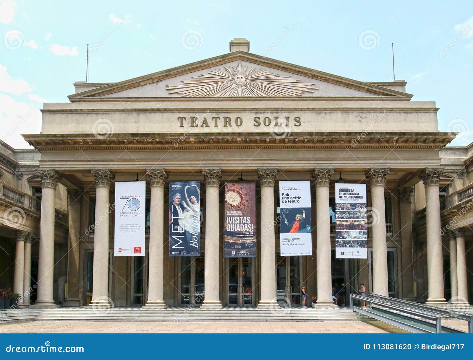 ΜΟΝΤΕΒΙΔΕΟ, ΟΥΡΟΥΓΟΥΑΗ - 4 Ιανουαρίου 2017: Μετωπική άποψη του διάσημου Teatro Solis Το παλαιότερο θέατρο της Ουρουγουάης ` s χτί