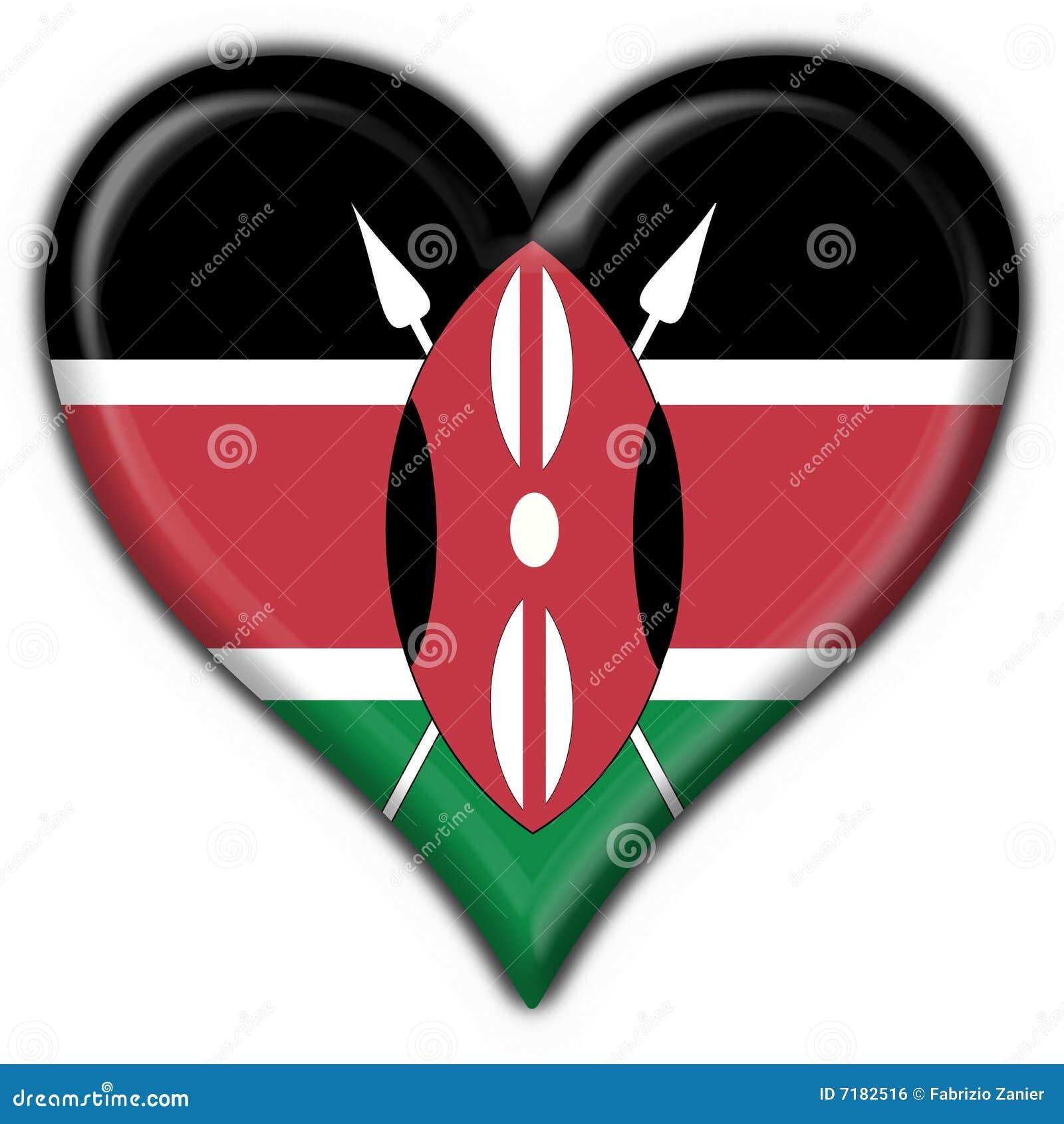 μορφή της Κένυας καρδιών σημαιών κουμπιών