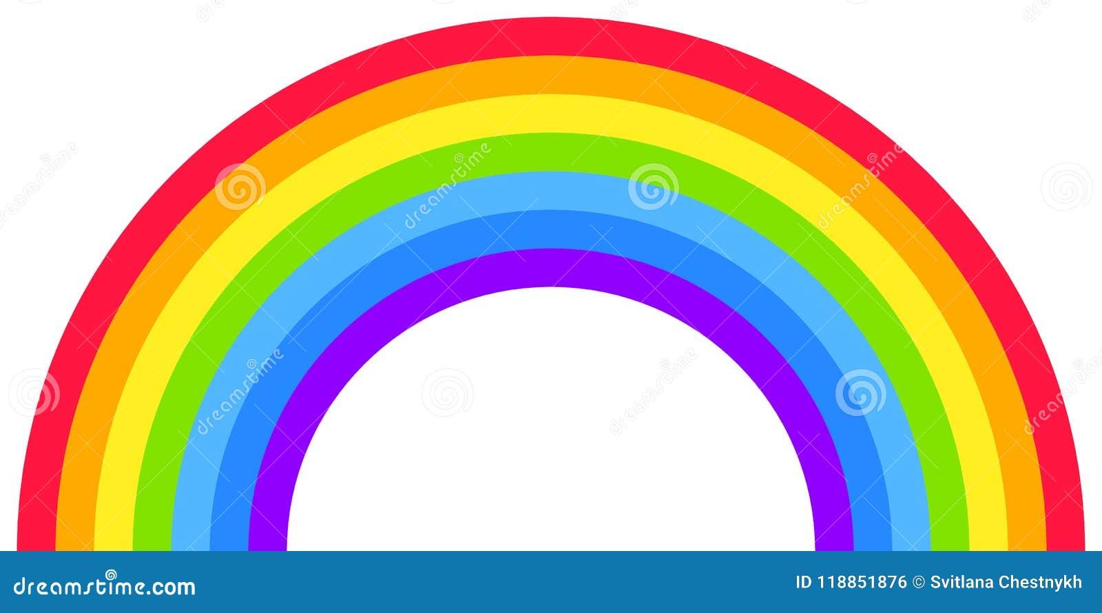 Μορφή τόξων ουράνιων τόξων, μισός κύκλος, φωτεινά χρώματα φάσματος, ζωηρόχρωμο ριγωτό σχέδιο