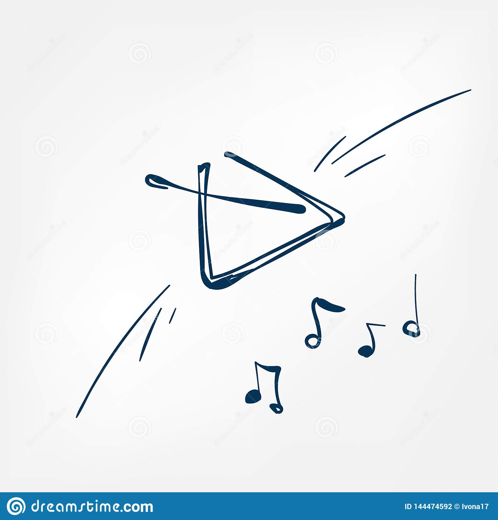 Μουσικό όργανο μουσικής σχεδίου γραμμών σκίτσων τριγώνων