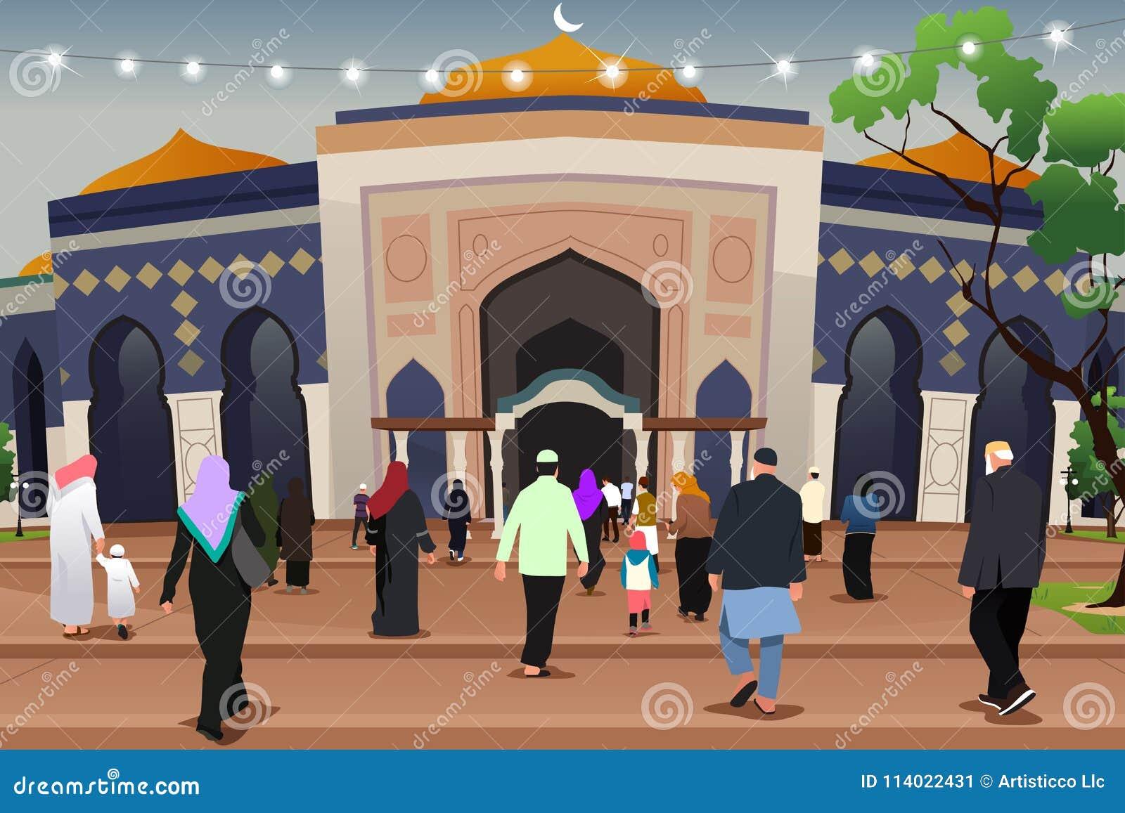 Μουσουλμάνοι που πηγαίνουν στο μουσουλμανικό τέμενος για να προσεηθεί την απεικόνιση