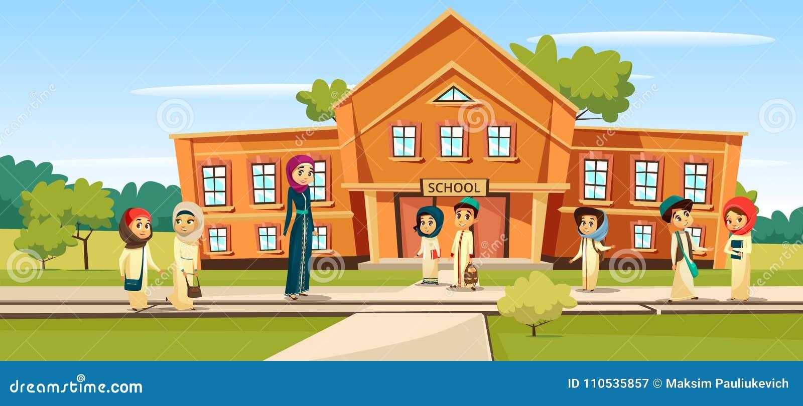 Μουσουλμανική σχολική διανυσματική απεικόνιση