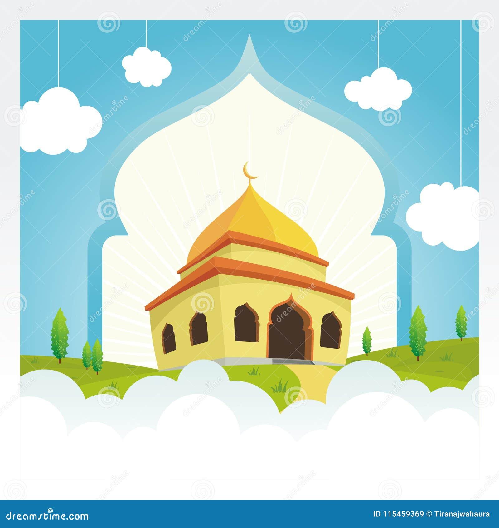 Μουσουλμανικό τέμενος κινούμενων σχεδίων στον ουρανό και το σύννεφο