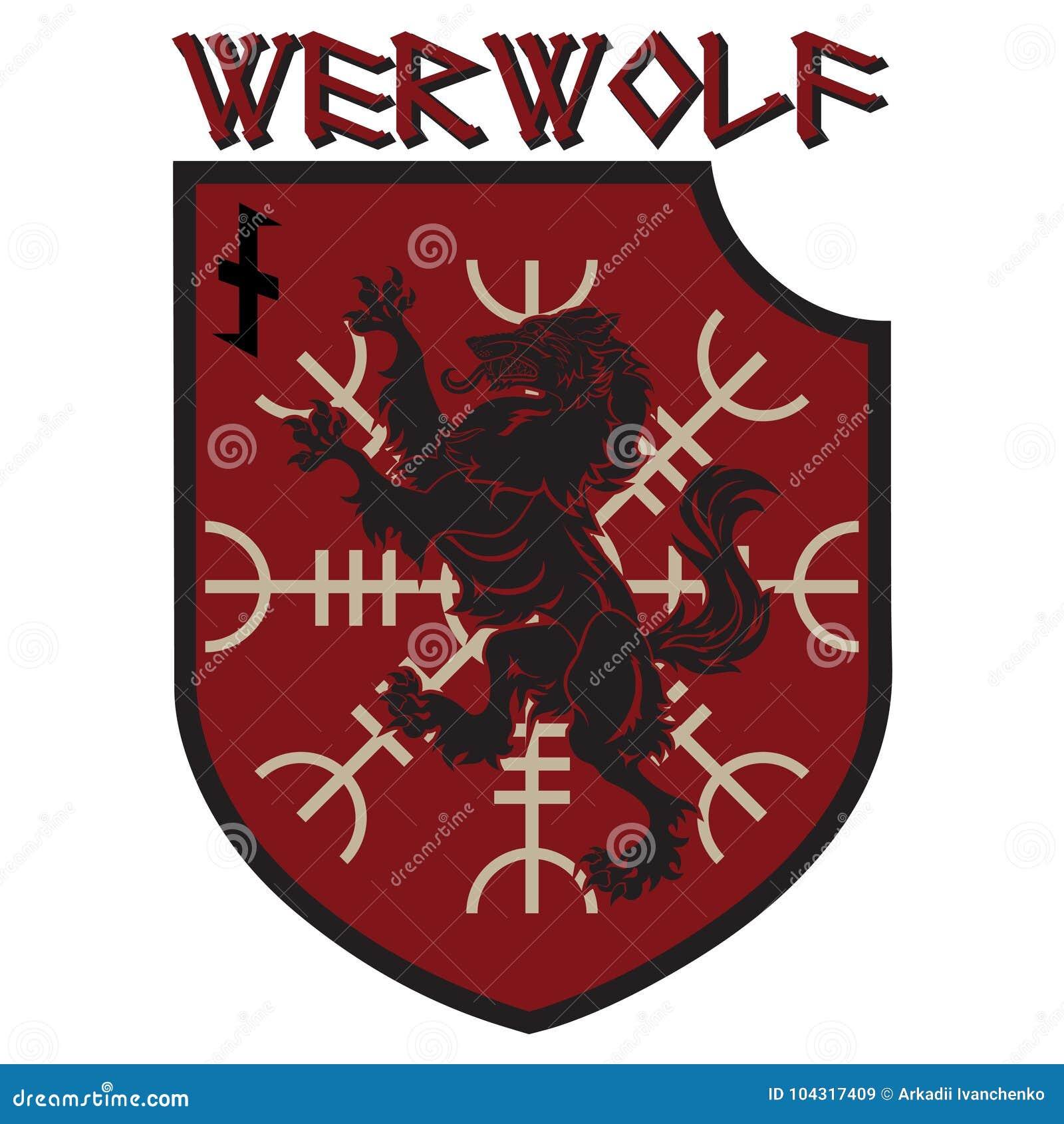 Μπάλωμα σχεδίου Εραλδική ασπίδα με ένα Werewolf, τιμόνι του δέου και του ρούνου Wolfsangel