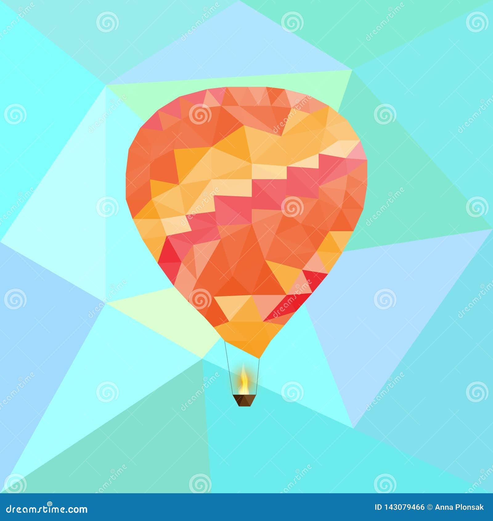 Μπαλόνι στον ουρανό στο polygonal ύφος επίσης corel σύρετε το διάνυσμα απεικόνισης