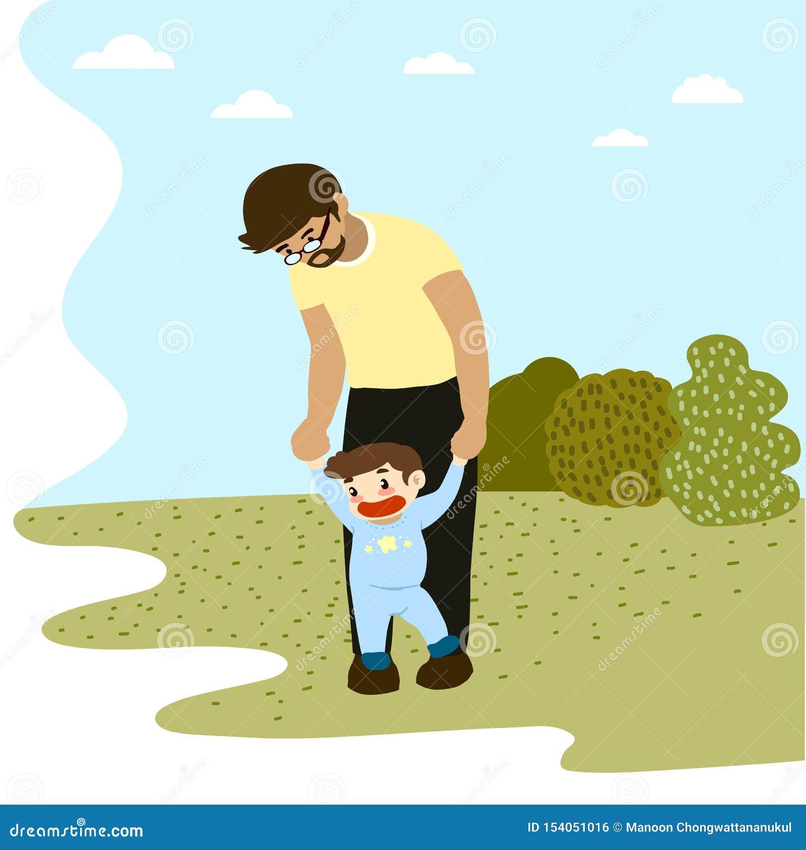 Μπαμπάς που παίρνει το μικρό παιδί για έναν περίπατο στο πάρκο