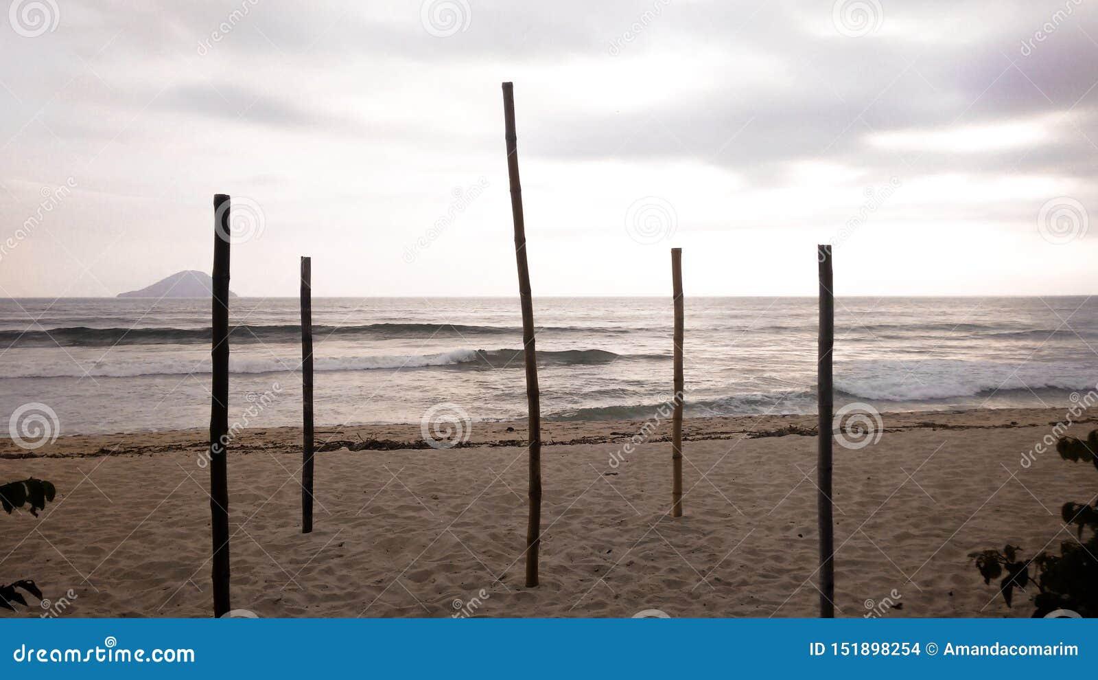 Μπαμπού που υποστηρίζουν τον ουρανό στη βραζιλιάνα παραλία