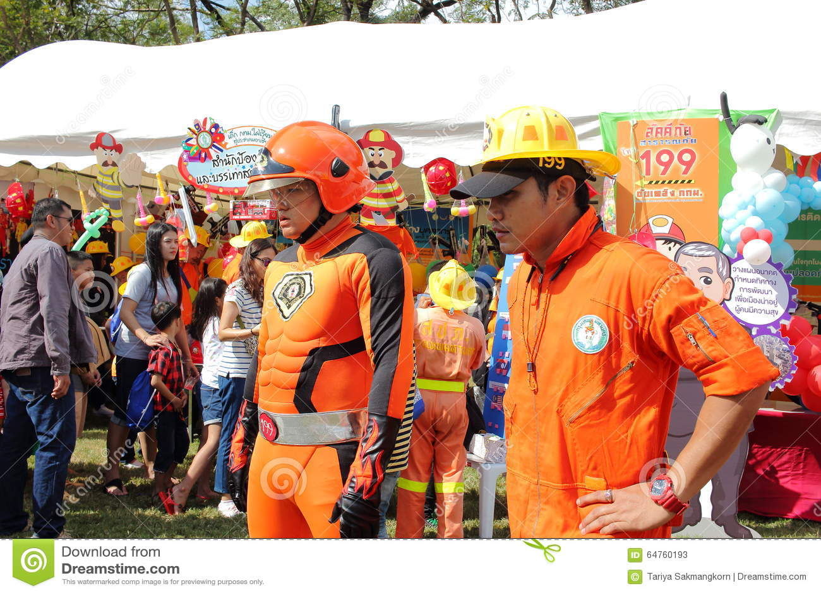 Μπανγκόκ, Ταϊλάνδη - 9 Ιανουαρίου 2016: Πυροσβέστης με Superhero Cosplay στην ημέρα των εθνικών παιδιών της Ταϊλάνδης