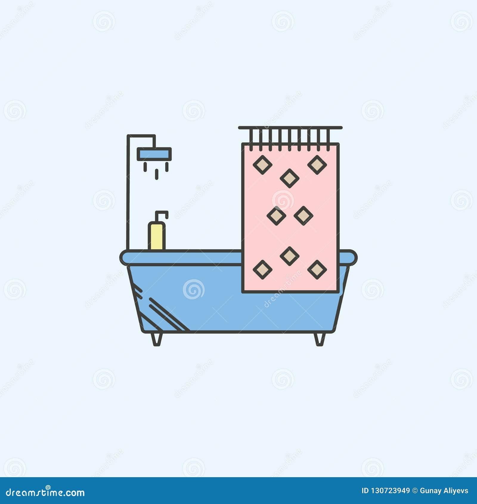 μπανιέρα με το εικονίδιο κουρτινών ντους Στοιχείο του εικονιδίου σπιτικού για την κινητούς έννοια και τον Ιστό apps Χρωματισμένη